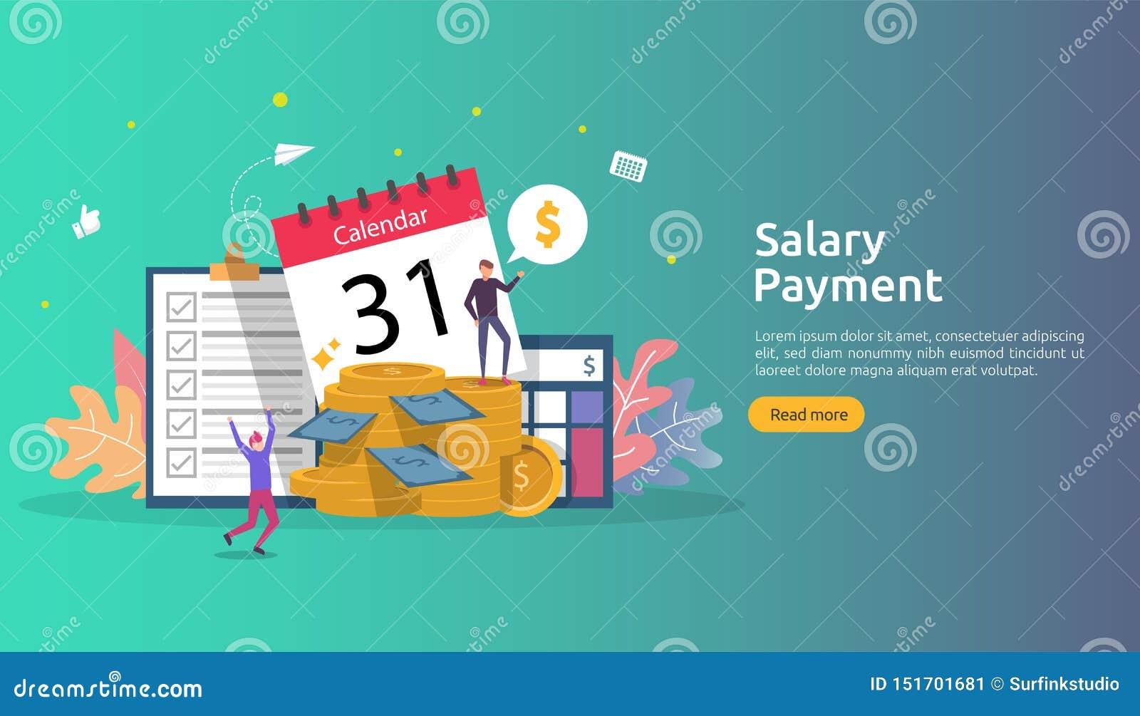Lönelistainkomstbegrepp årlig bonus för lönbetalning utbetalning med papper, räknemaskinen och folkteckenet Reng?ringsduk som lan