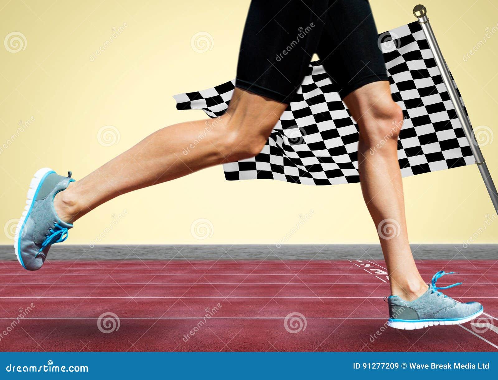 Löparen lägger benen på ryggen på spår mot gul bakgrund och rutig flagga