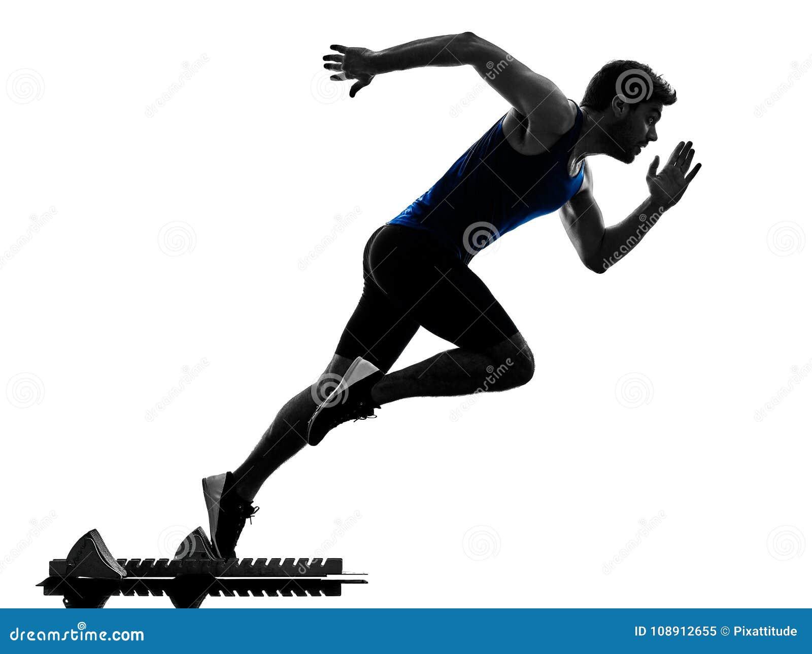 Löparesprinterspring som sprintar isola för friidrottmankontur