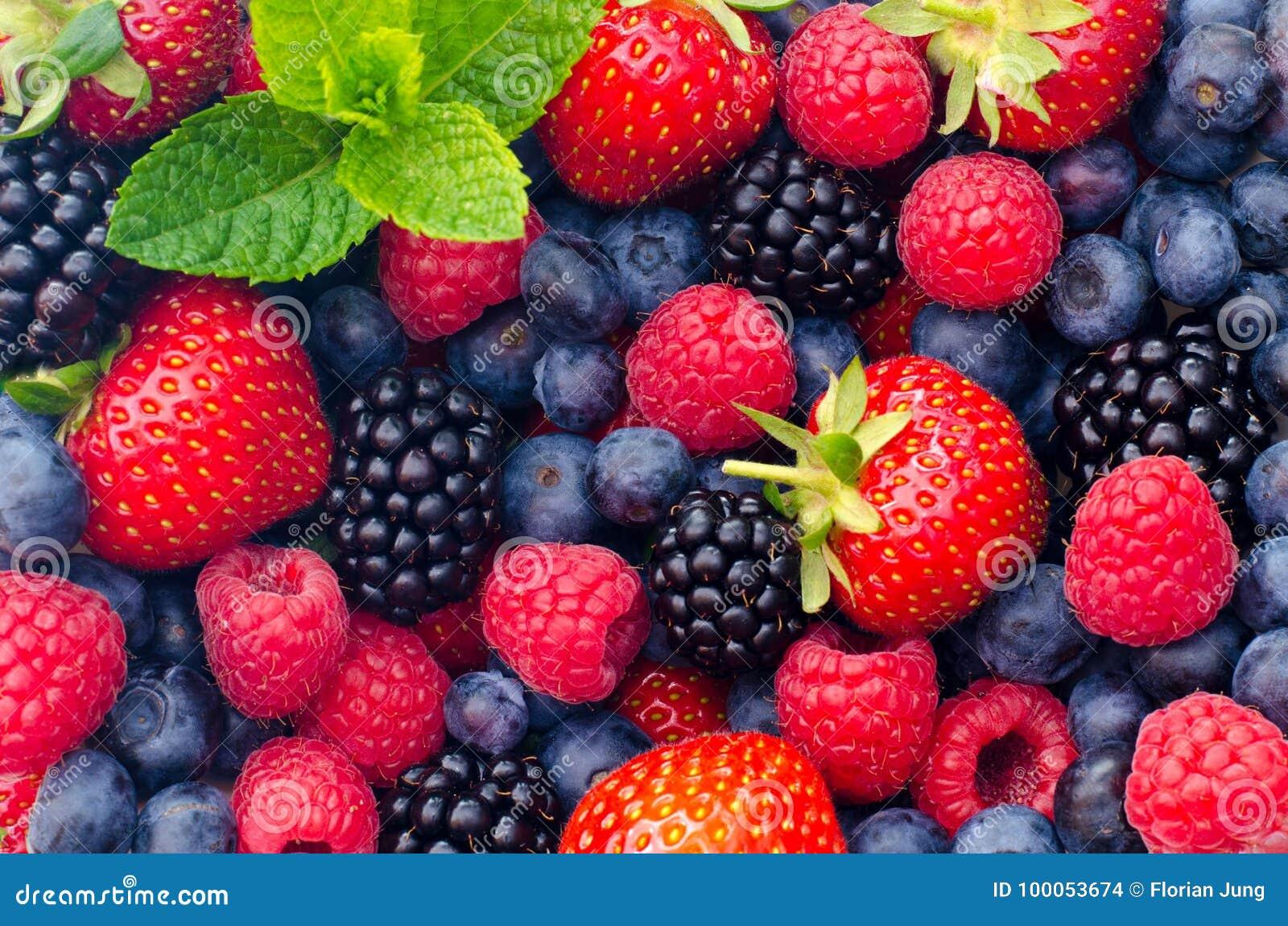 Lösa bärjordgubbar, blåbär, björnbär, hallon - Closeupfoto