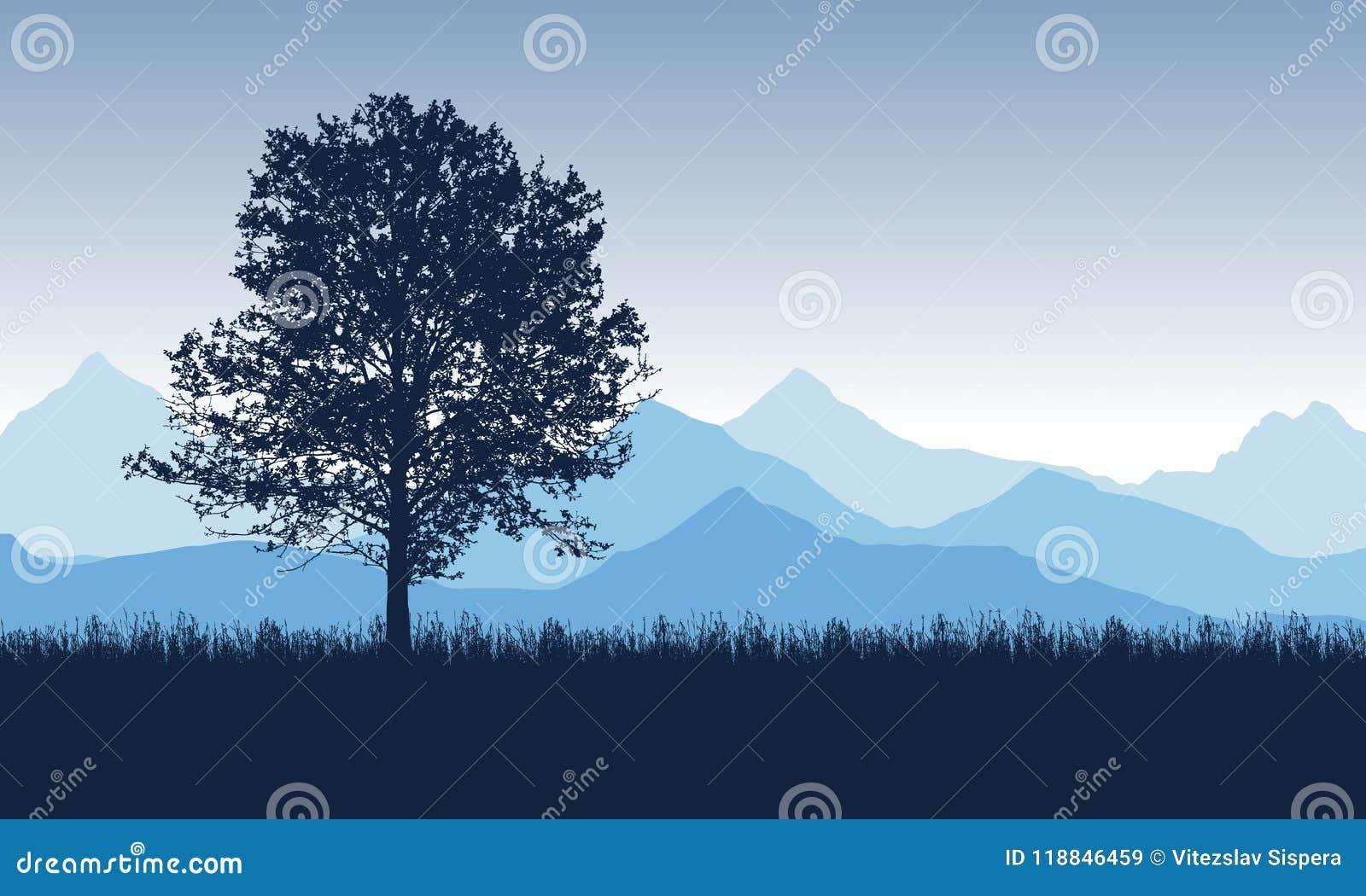 Lövfällande träd på gräset med blåa berg i backgrounen