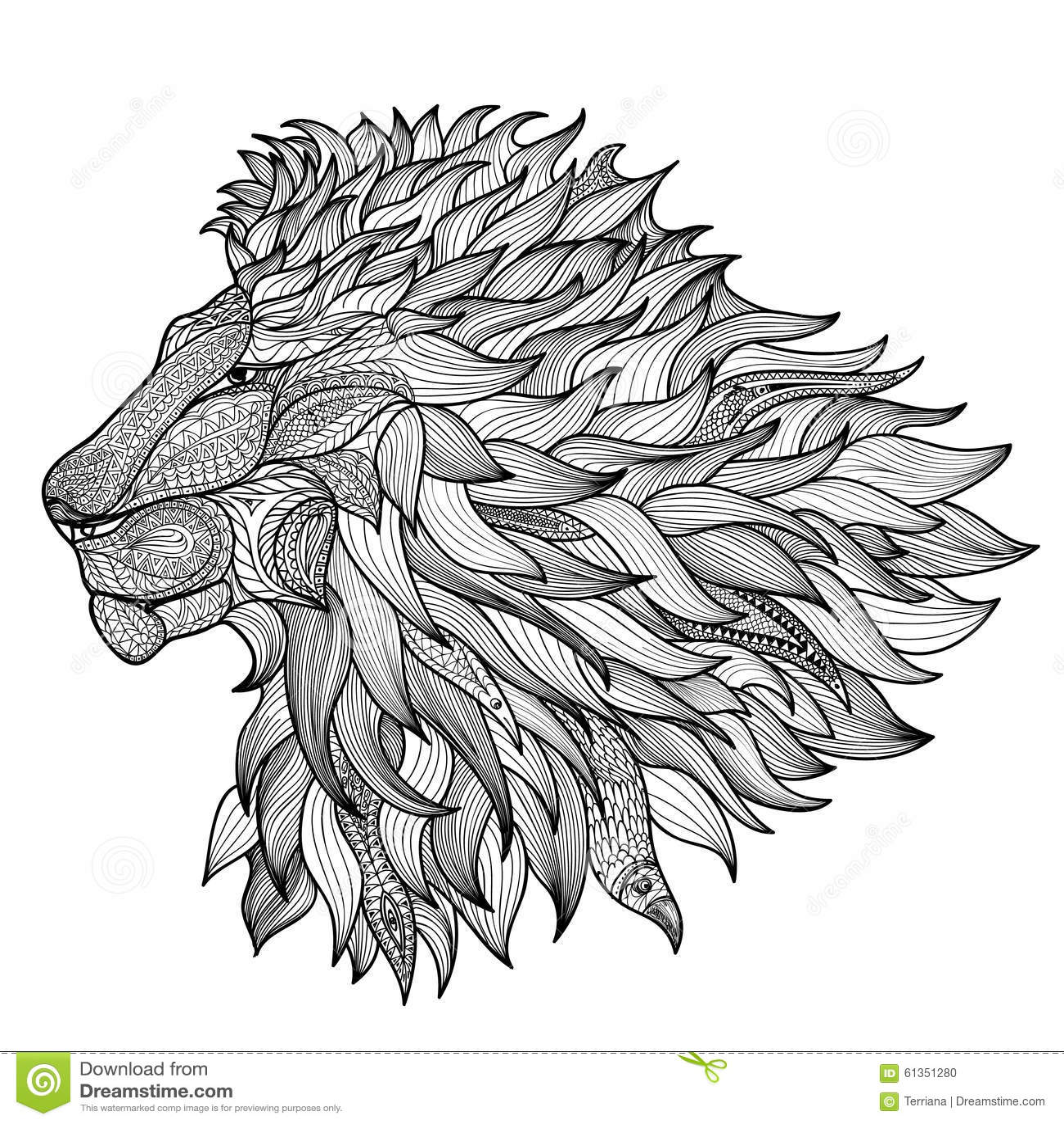 Löwe Getrennt Tier Zentangle Ornamentallogo Stock Abbildung