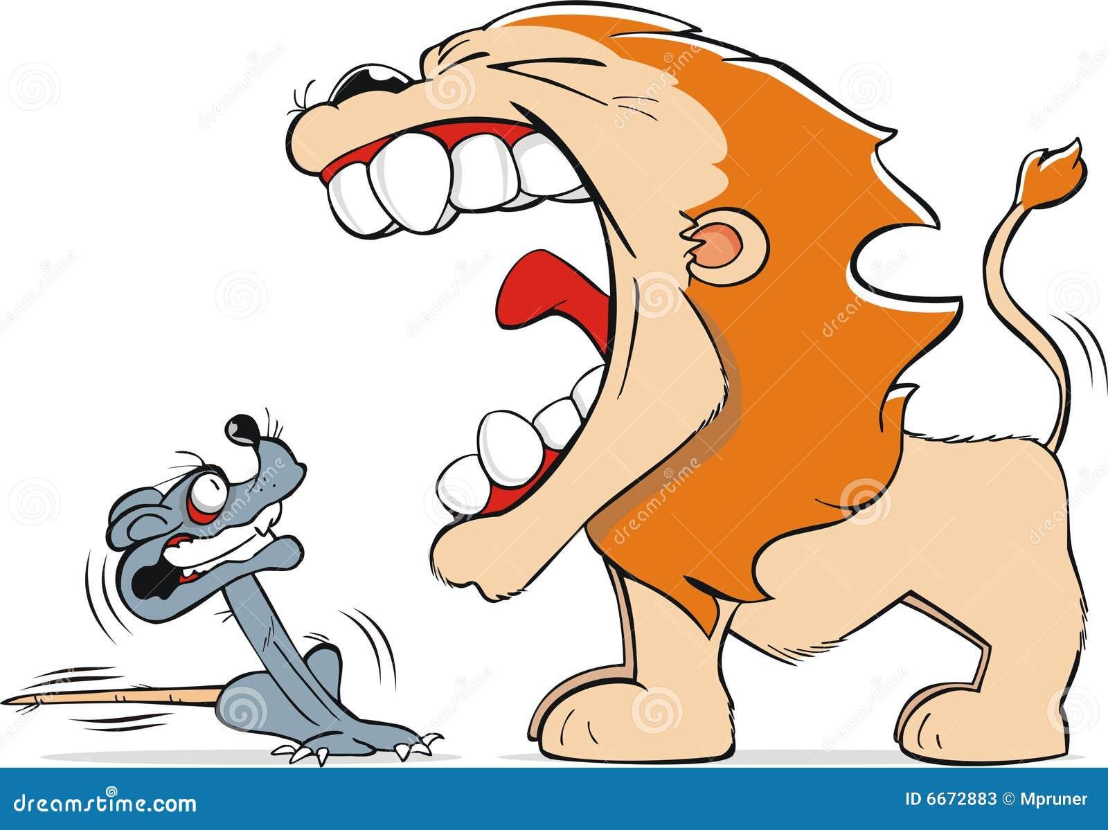 löwe und maus vektor abbildung illustration von ängstlich