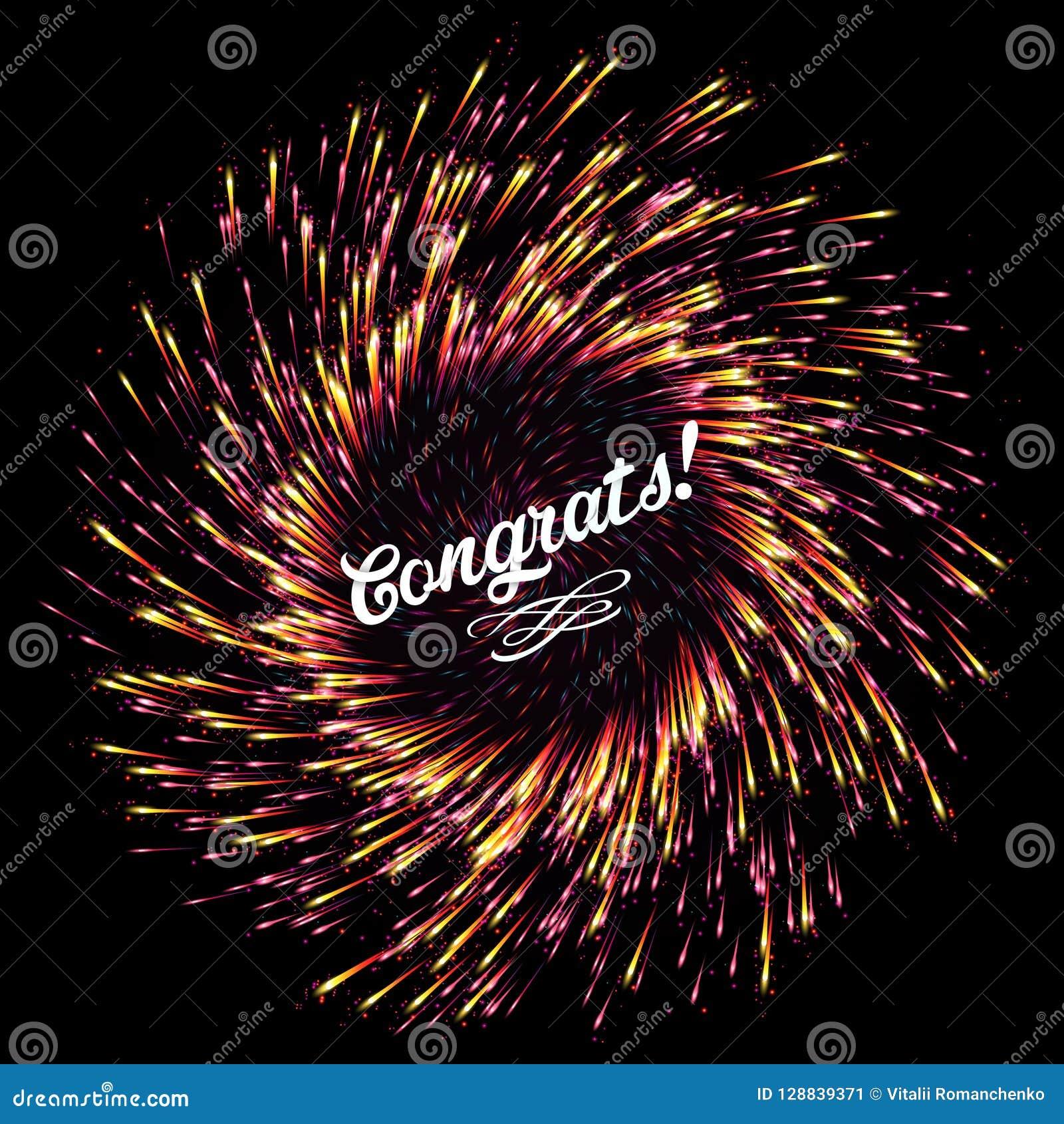 L éclair des feux d artifice abstraits sur un fond foncé Lumières de fête d explosion lumineuse félicitation Salut de fête du ` s