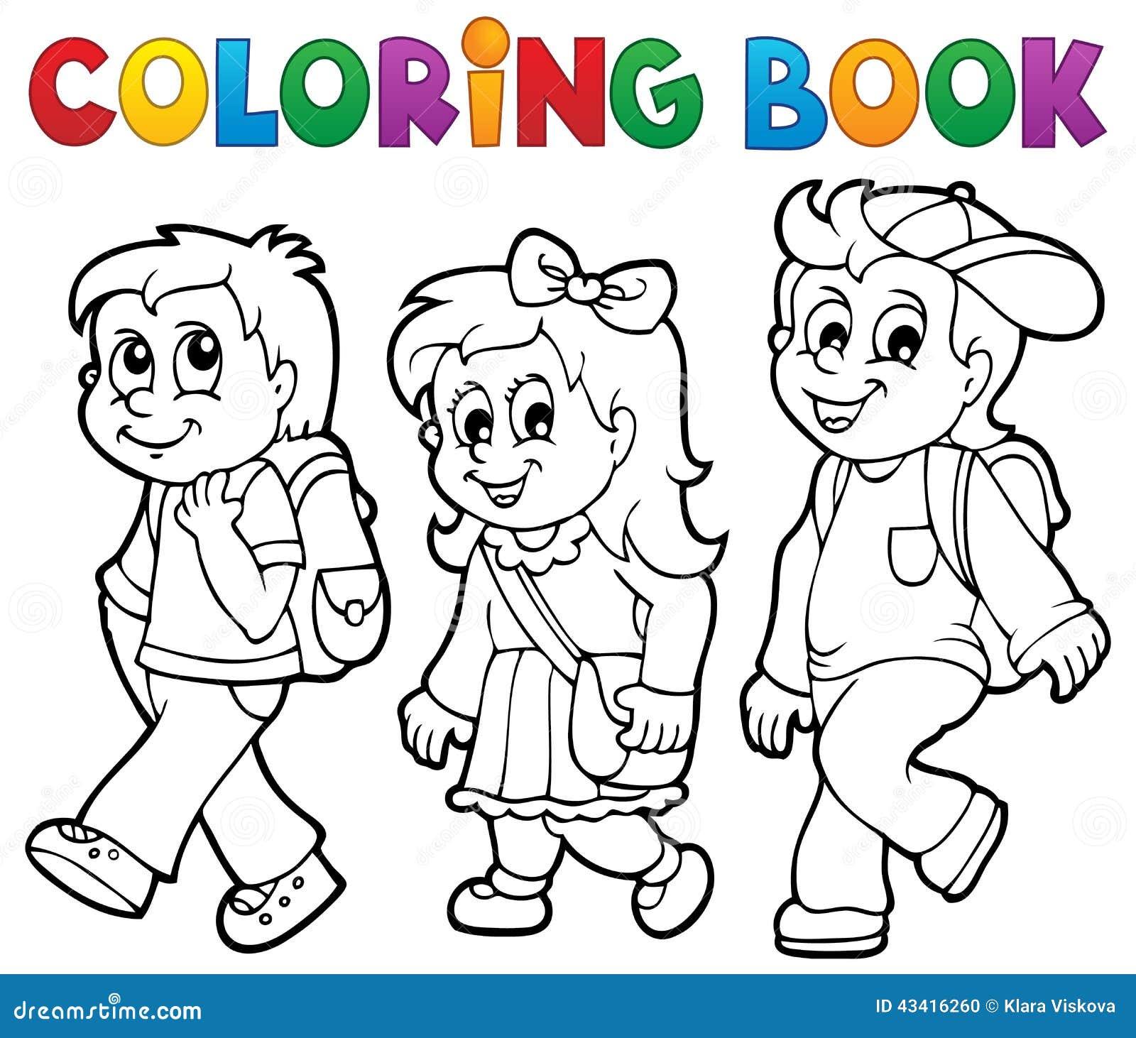 Coloriage Theme Ecole.L Ecole De Livre De Coloriage Badine Le Theme 2 Illustration De