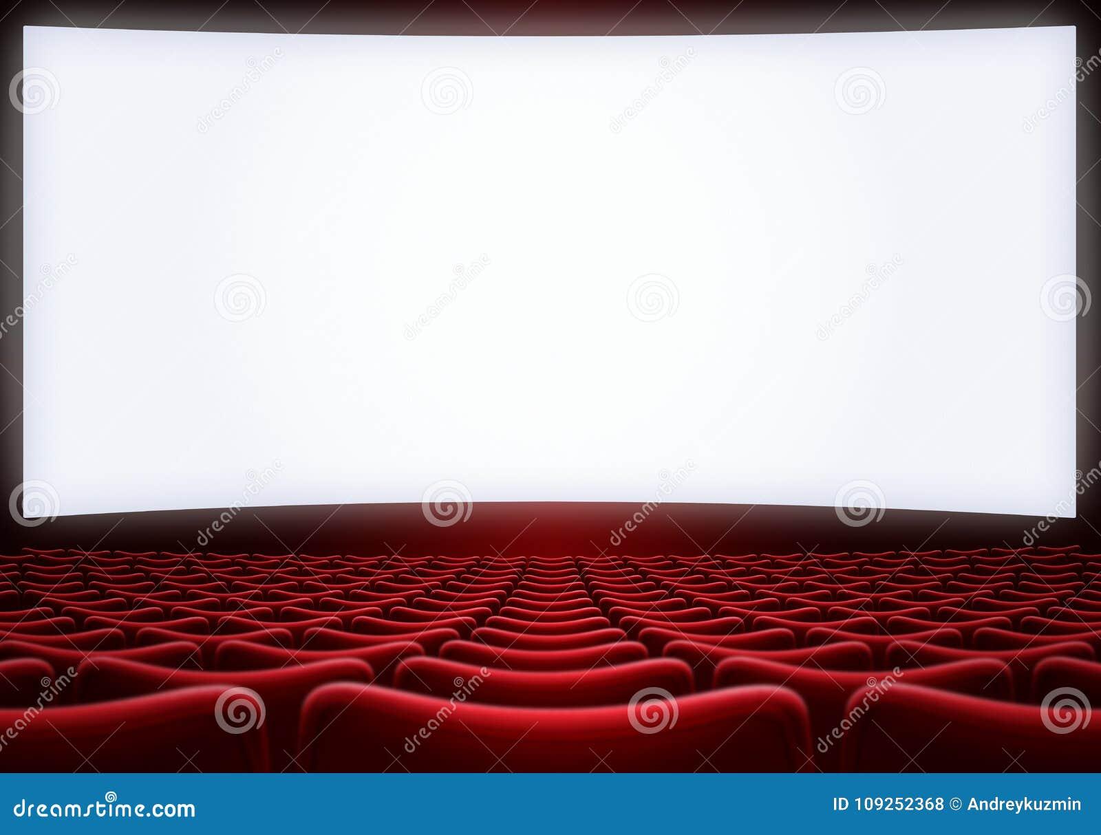 l 39 cran de salle de cin ma avec le rouge pose l 39 illustration 3d photo stock image du cin ma. Black Bedroom Furniture Sets. Home Design Ideas