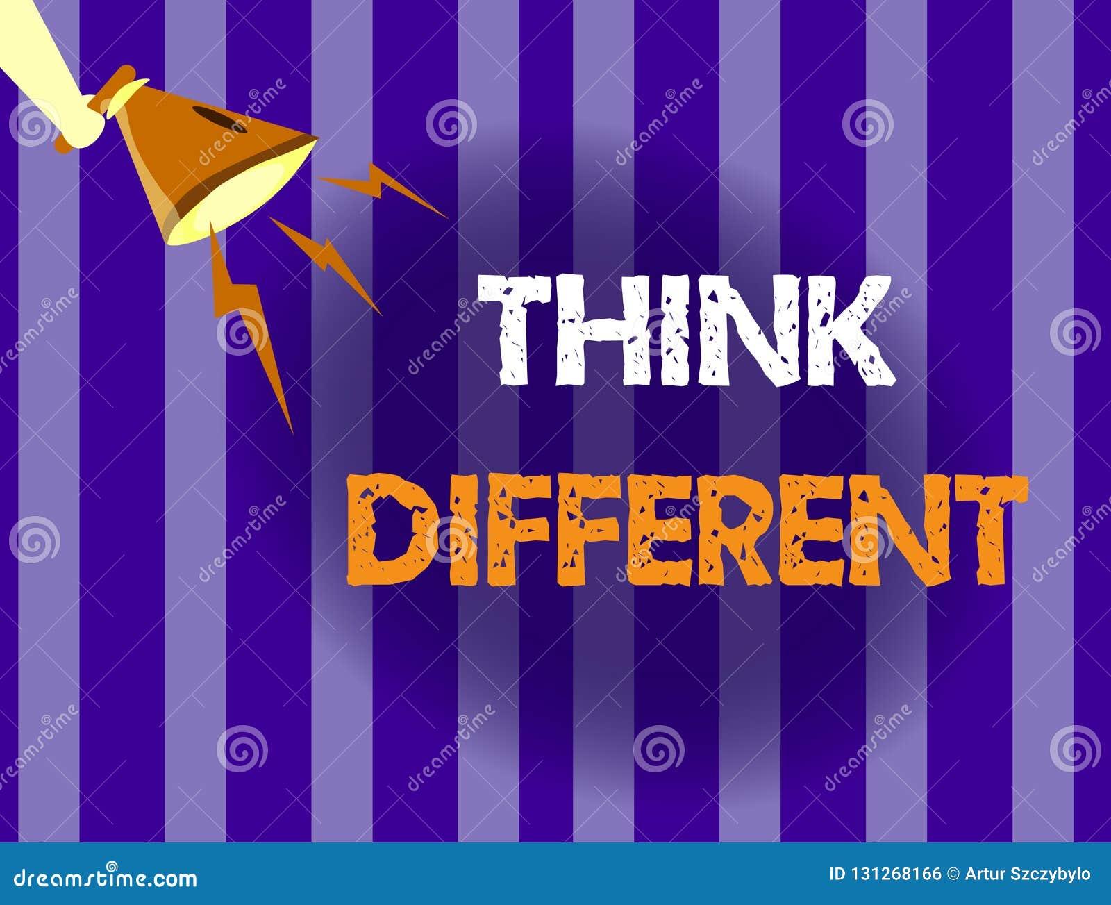 L écriture des textes d écriture pensent différent La signification de concept soit unique avec votre vent de pensées ou d attitu