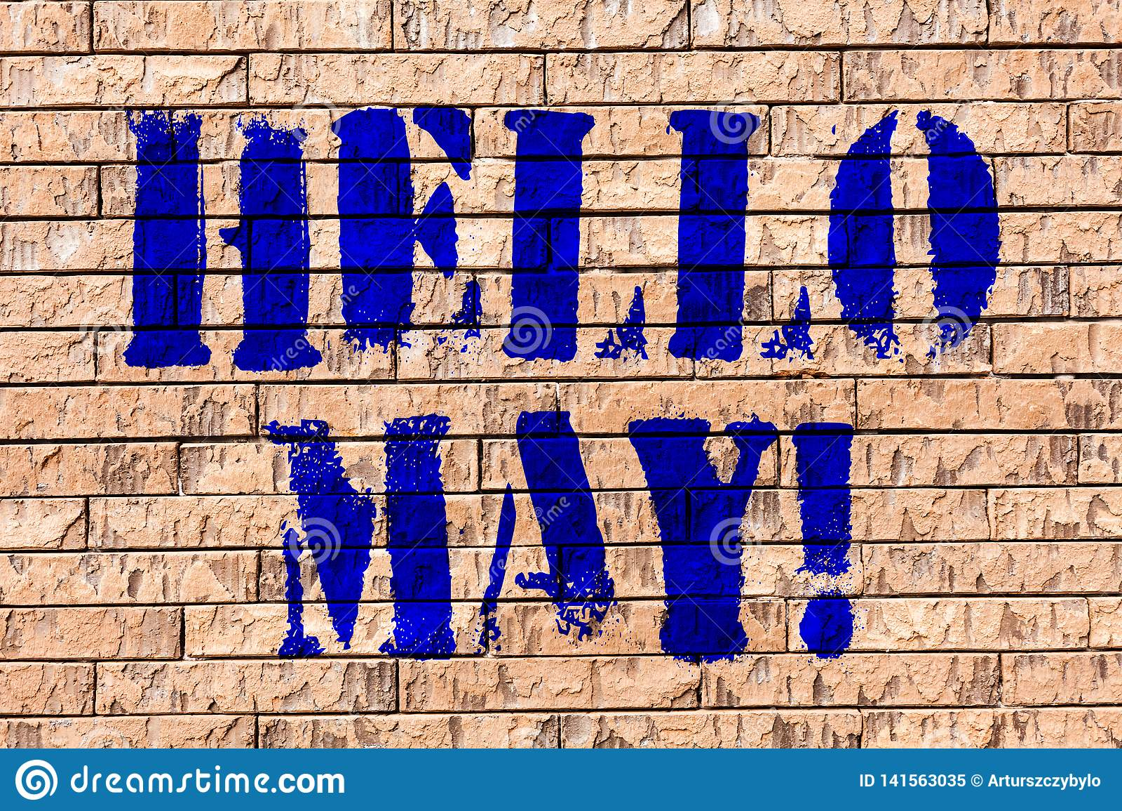 L écriture textotent bonjour mai La signification de concept commençant un nouveau mois avril est au-dessus d art de mur de briqu