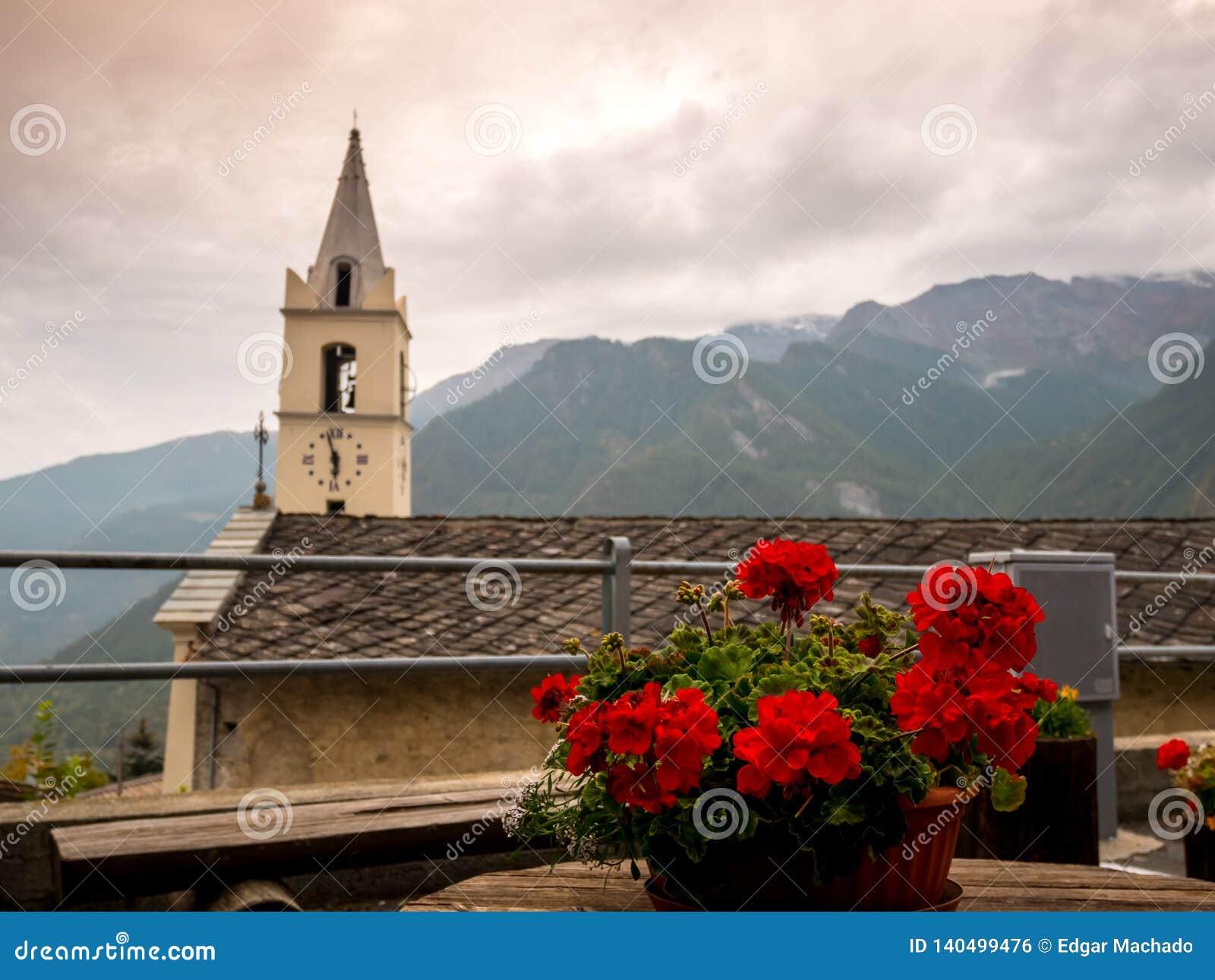 L église et le géranium