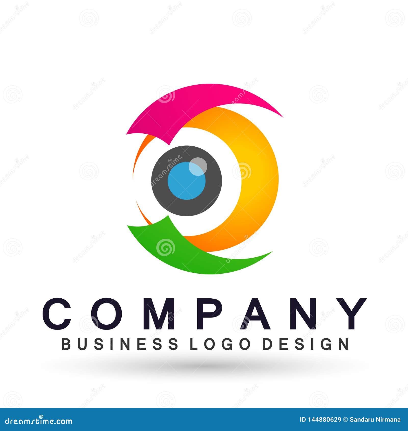 L élément médical d icône de logo de concept de santé de famille de globe de soin d oeil se connectent le fond blanc