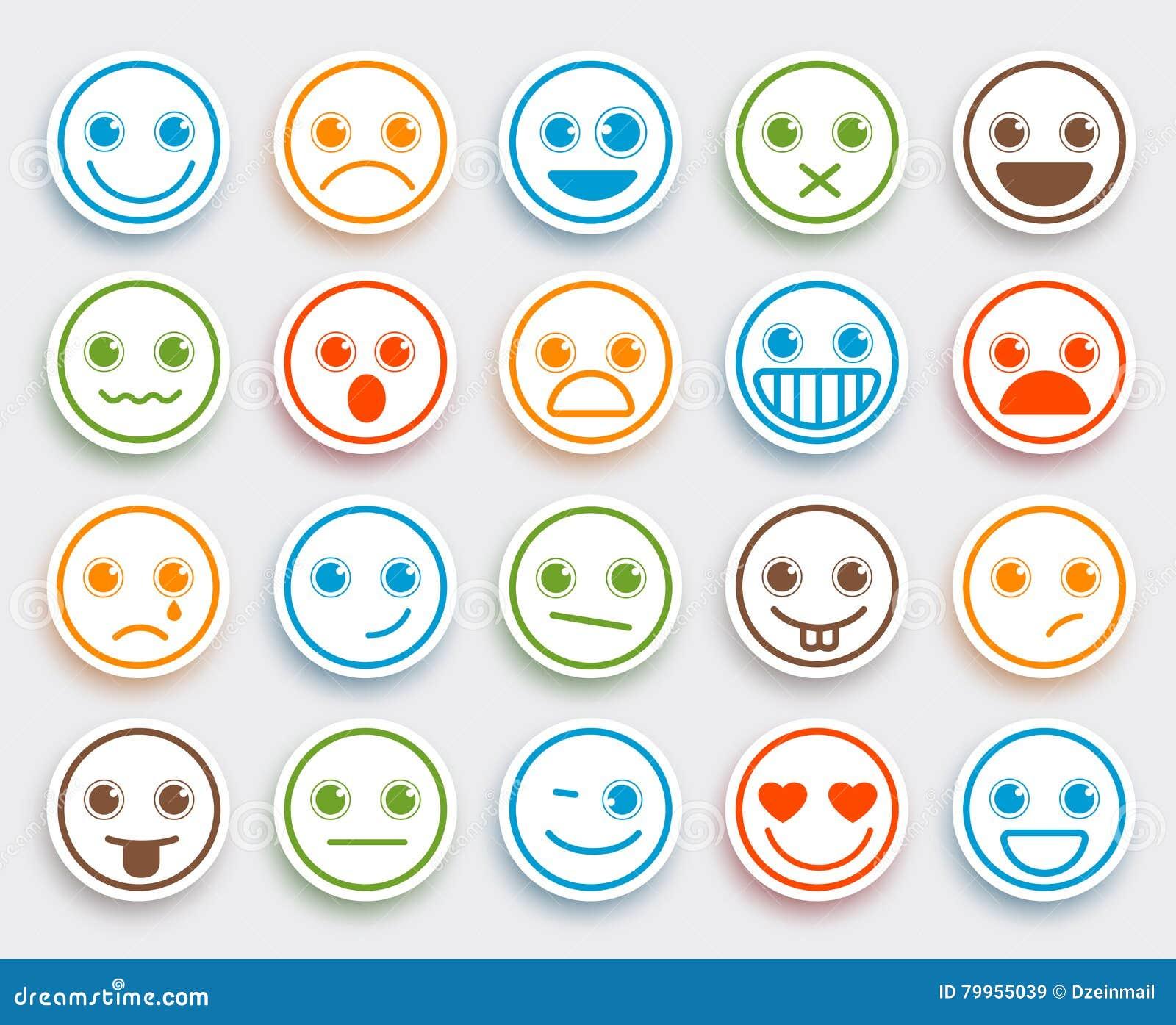 L émoticône souriante de vecteur de visage a placé dans l autocollant plat blanc d icône