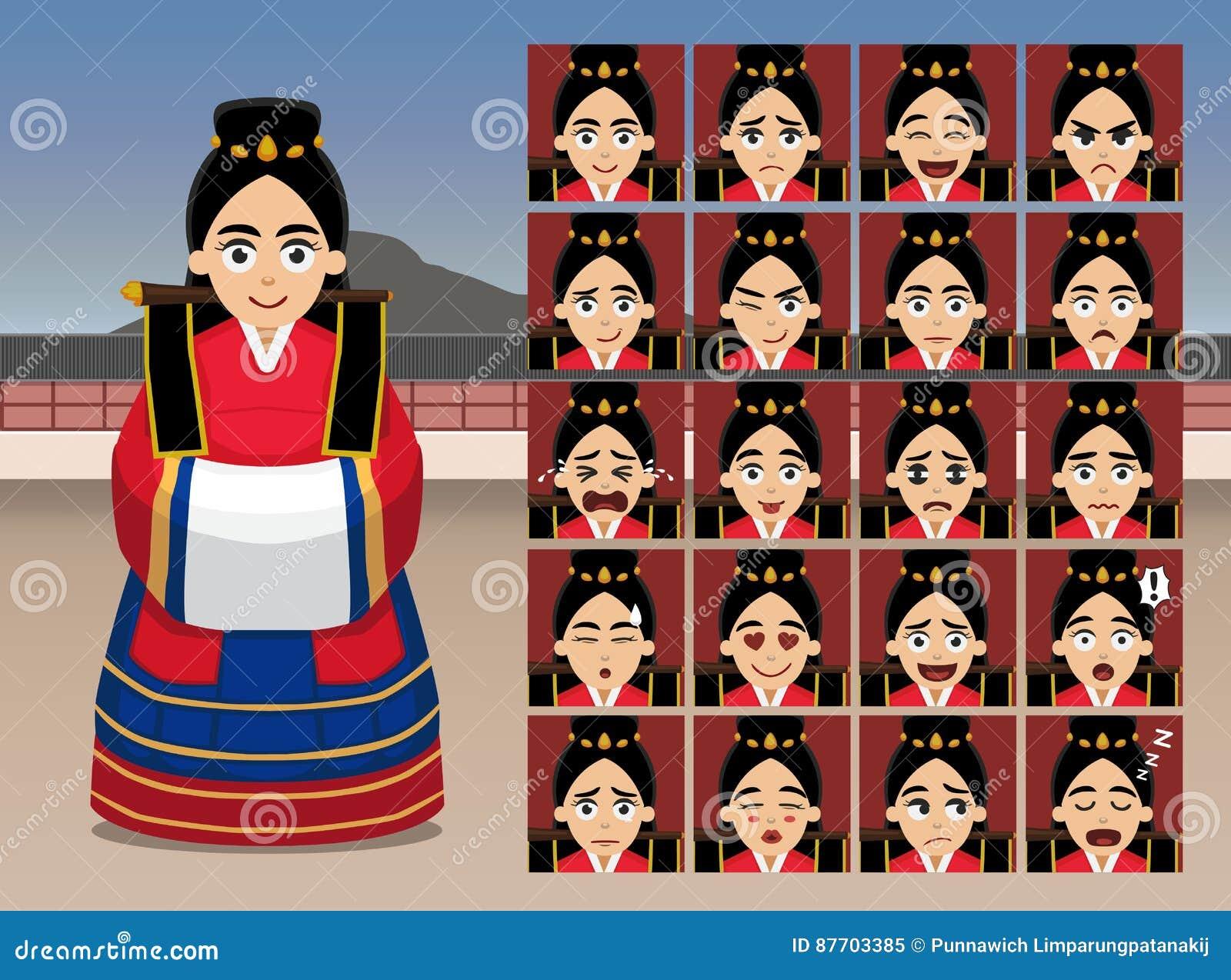 L émotion coréenne de bande dessinée de jeune mariée de mariage fait face à l illustration de vecteur