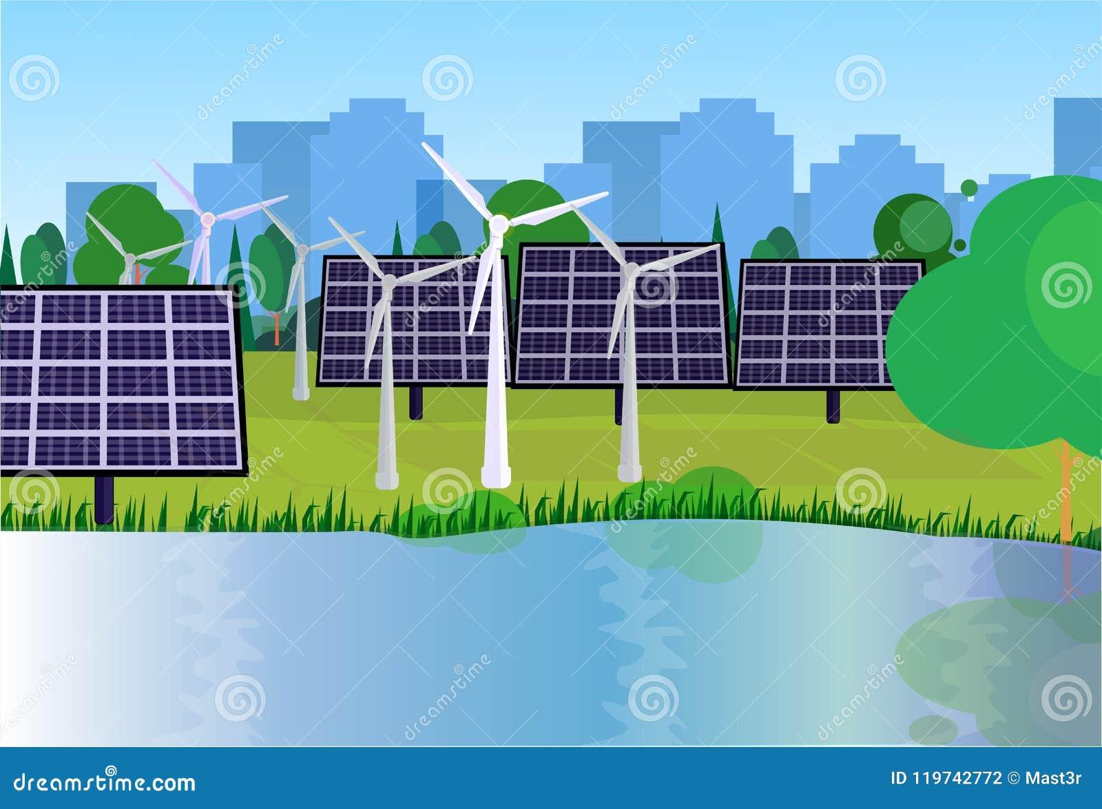 L énergie solaire de turbines de vent d énergie propre de parc de ville lambrisse les arbres verts de pelouse de rivière sur le f