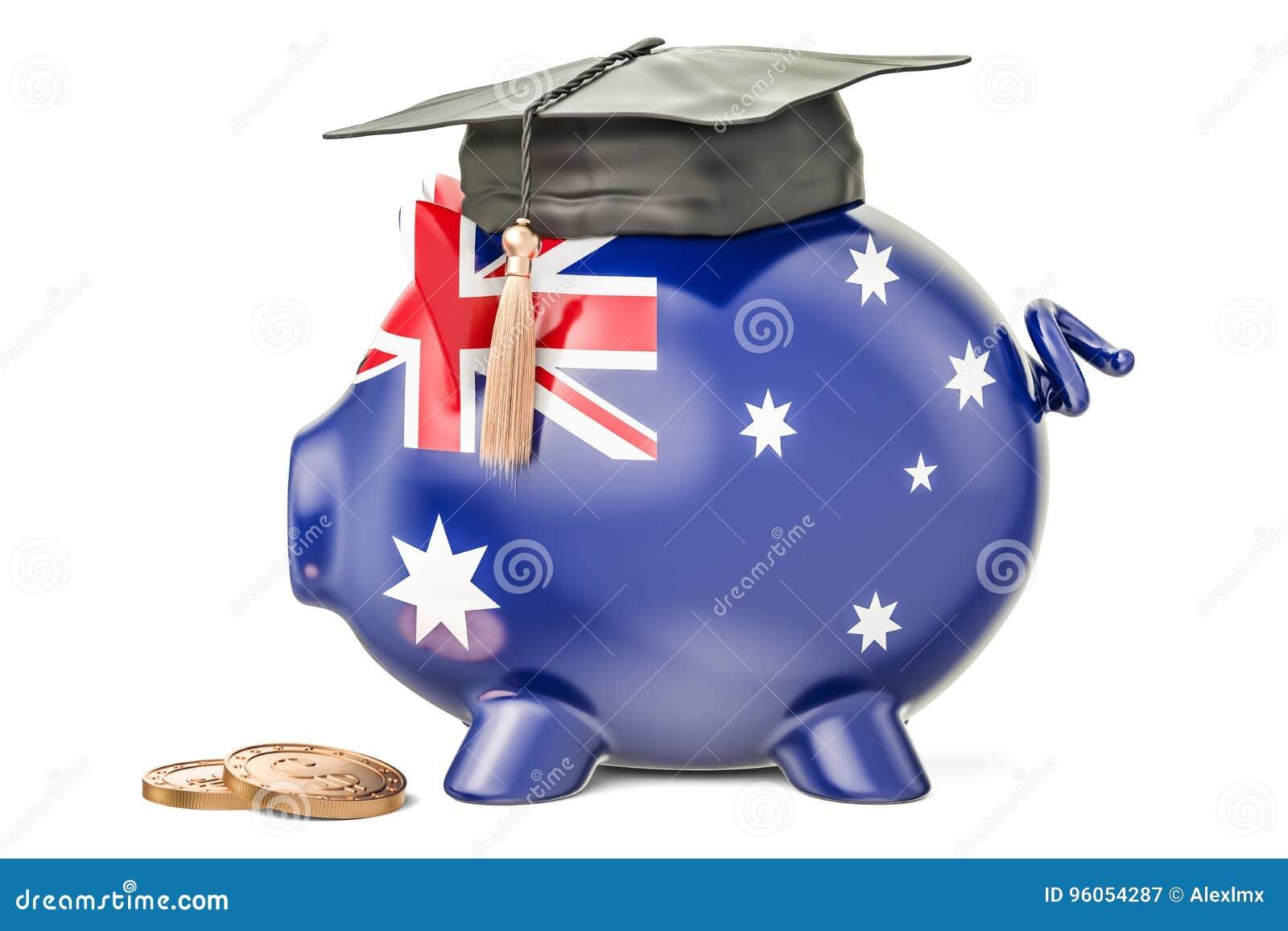 L épargne pour l éducation dans le concept d Australie, rendu 3D