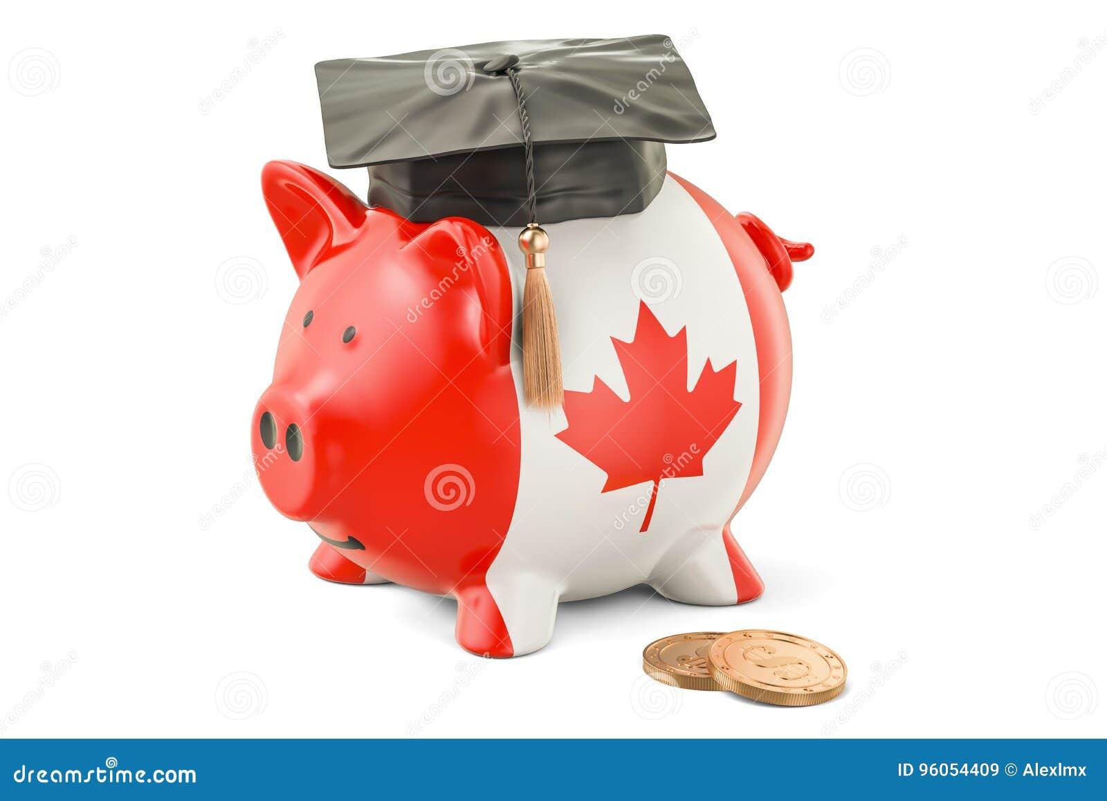 L épargne pour l éducation dans le concept de Canada, rendu 3D
