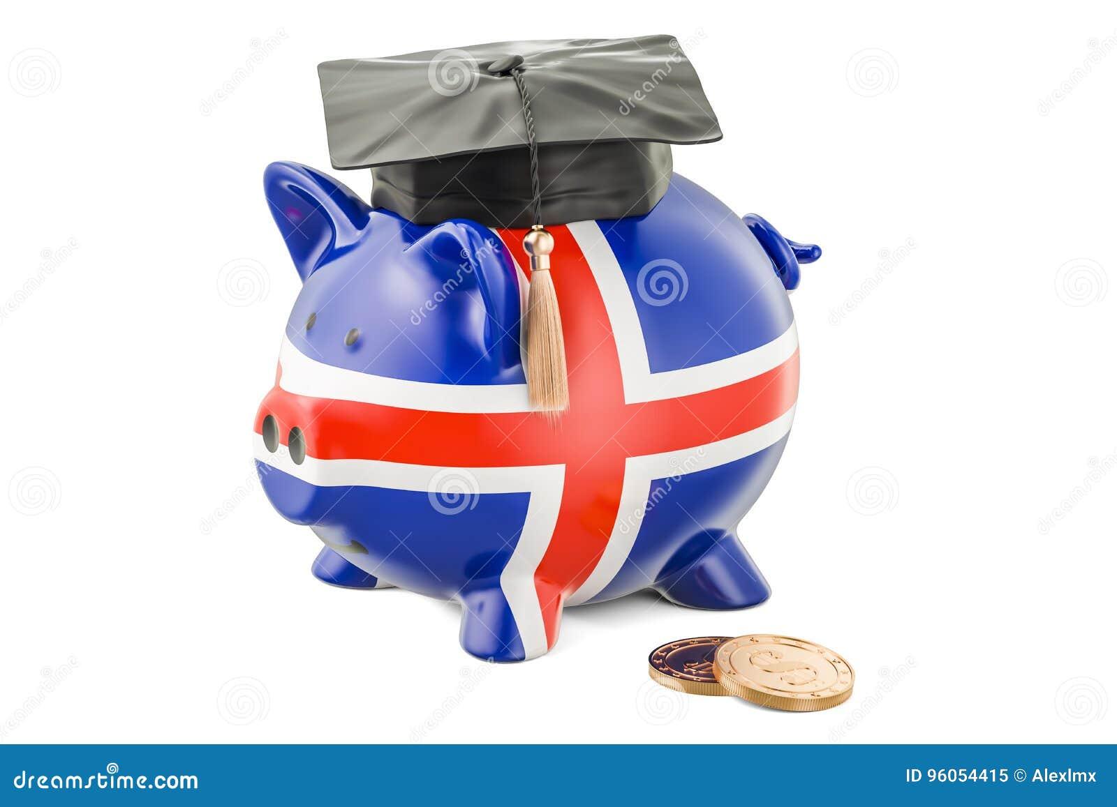 L épargne pour l éducation dans le concept de l Islande, rendu 3D