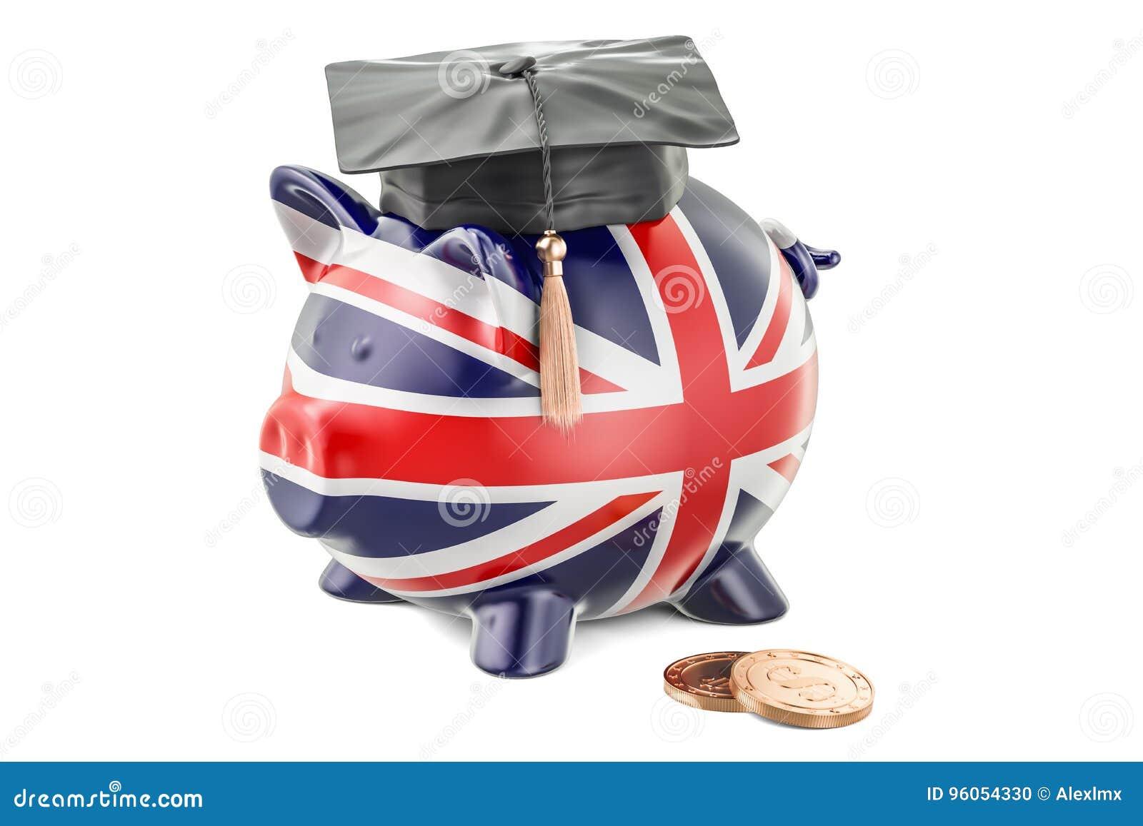 L épargne pour l éducation dans le concept de la Grande-Bretagne, rendu 3D