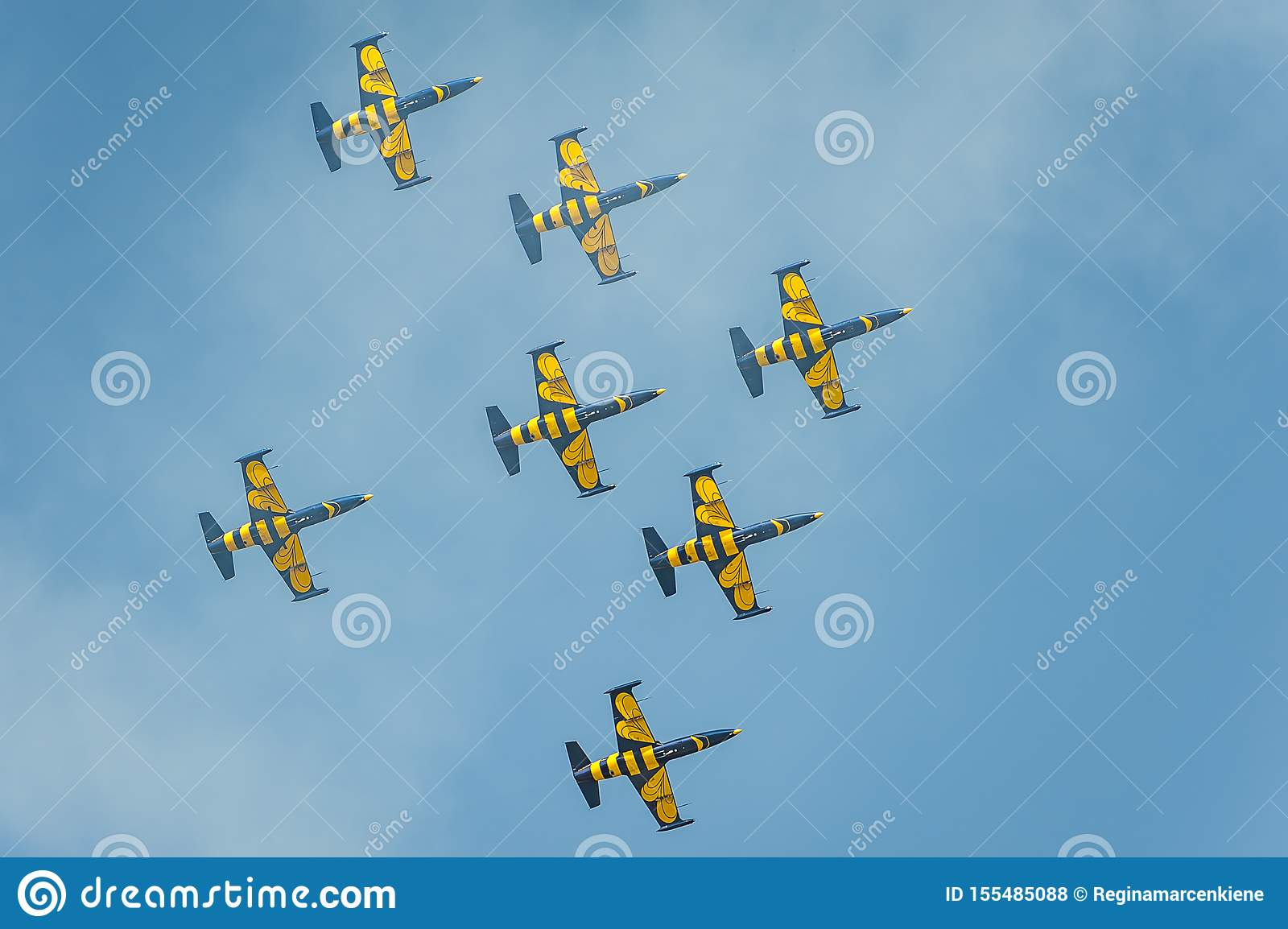 L équipe baltique d abeilles exécute le vol au salon de l aéronautique et montre un cascade