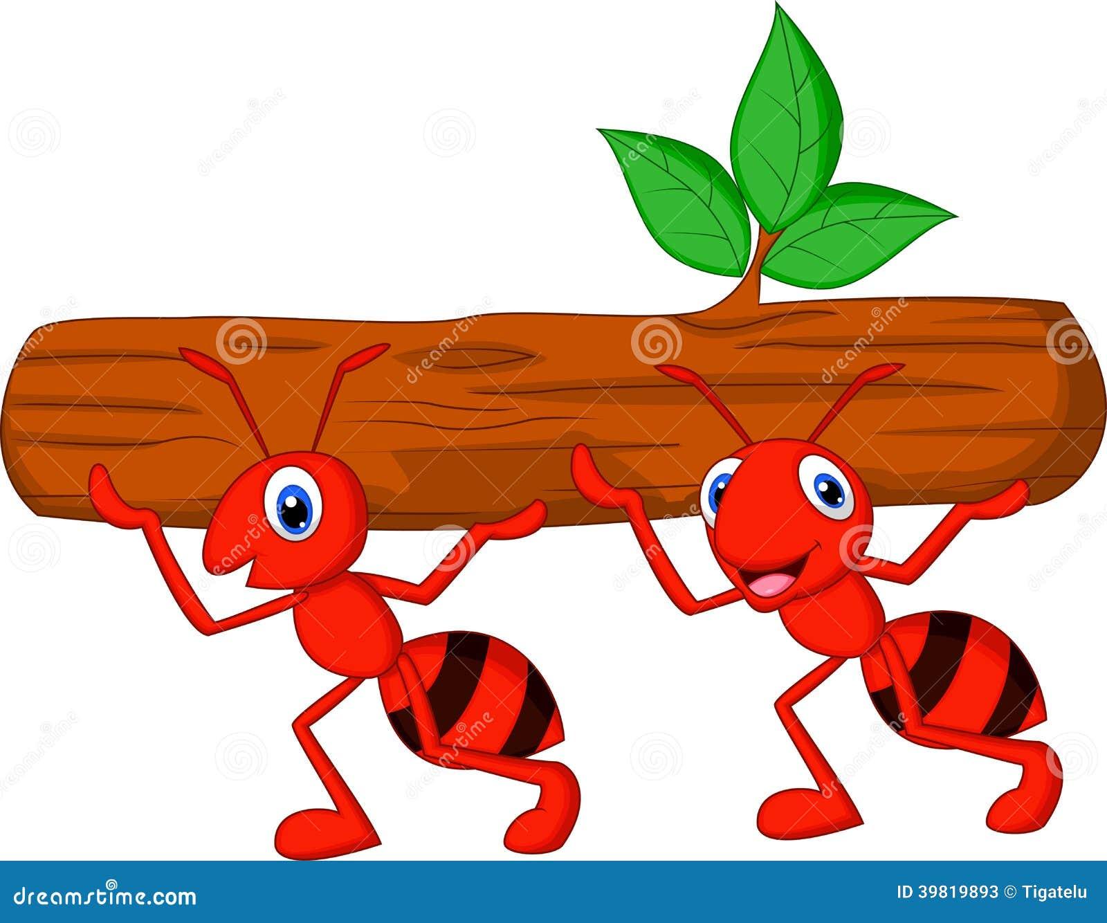 L équipe de bande dessinée de fourmis porte le rondin