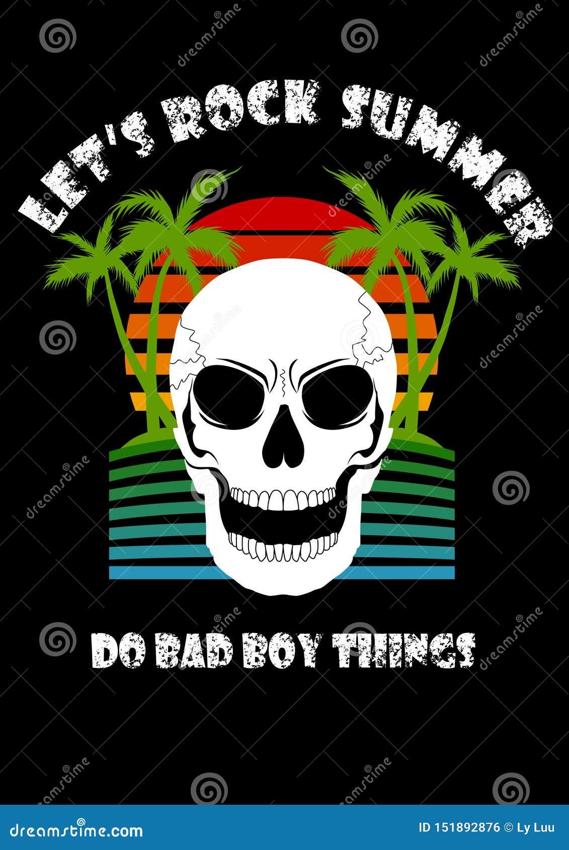 L été de plage d arbre de noix de coco de crâne nous a laissés basculer font la mauvaise chose de garçon