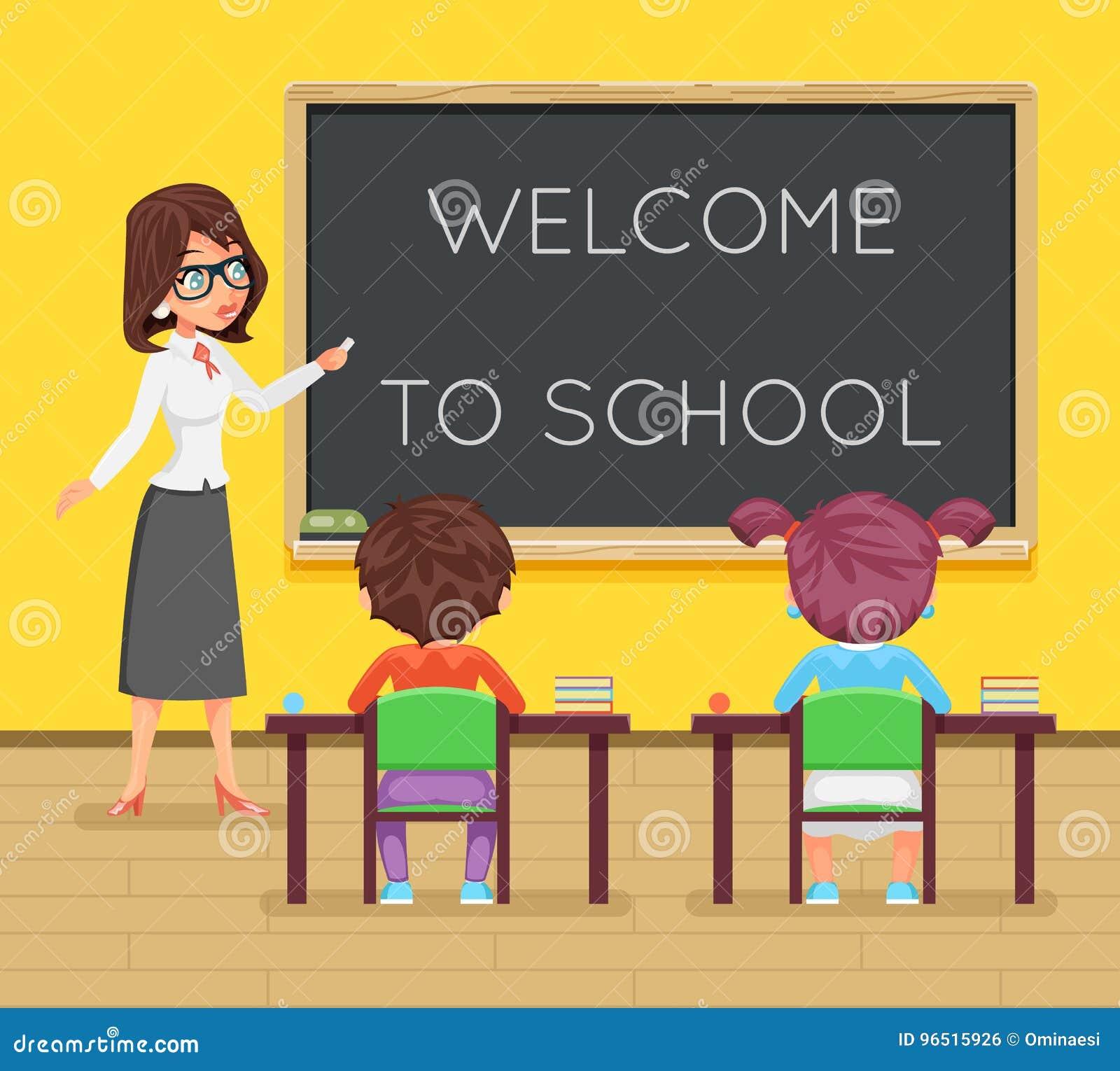 L étudiant féminin d élève d étude de professeur reposent le conseil pédagogique de salle de classe d icône de caractère d enfant