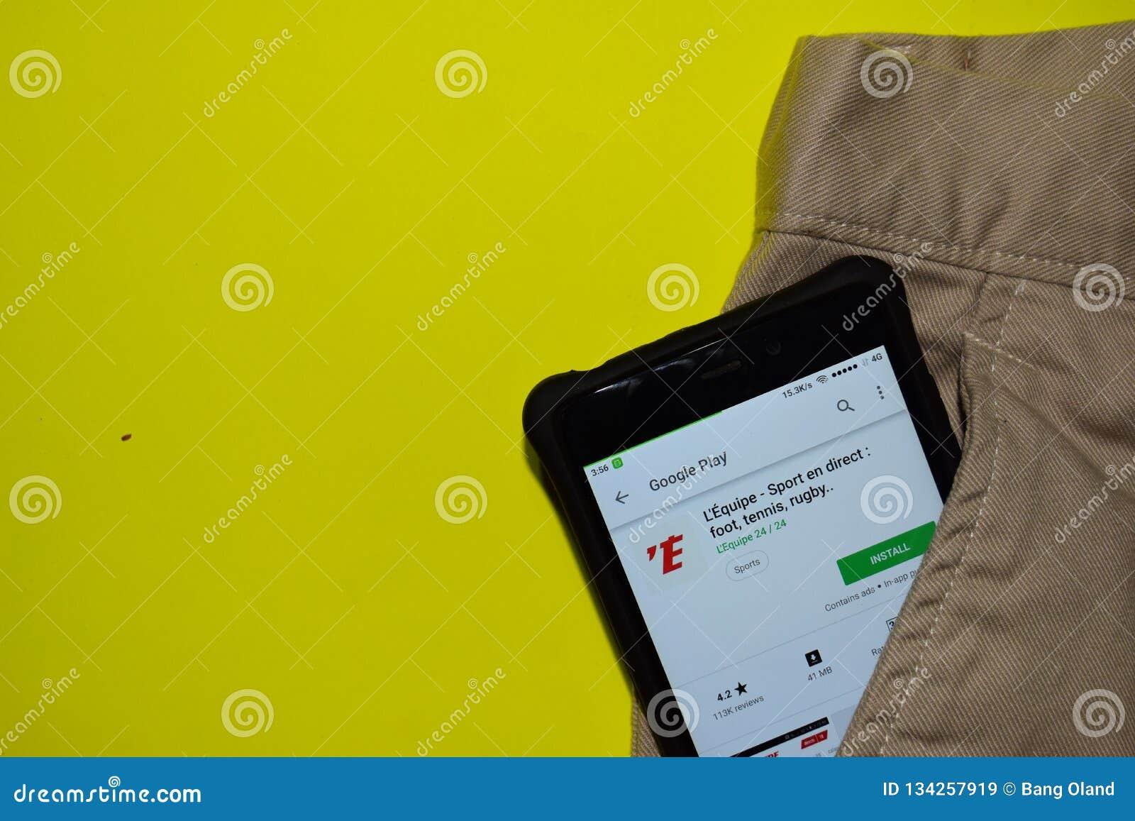 L 'Equipe - en del deporte directo: pie, tenis, uso del revelador del rugbi en la pantalla de Smartphone
