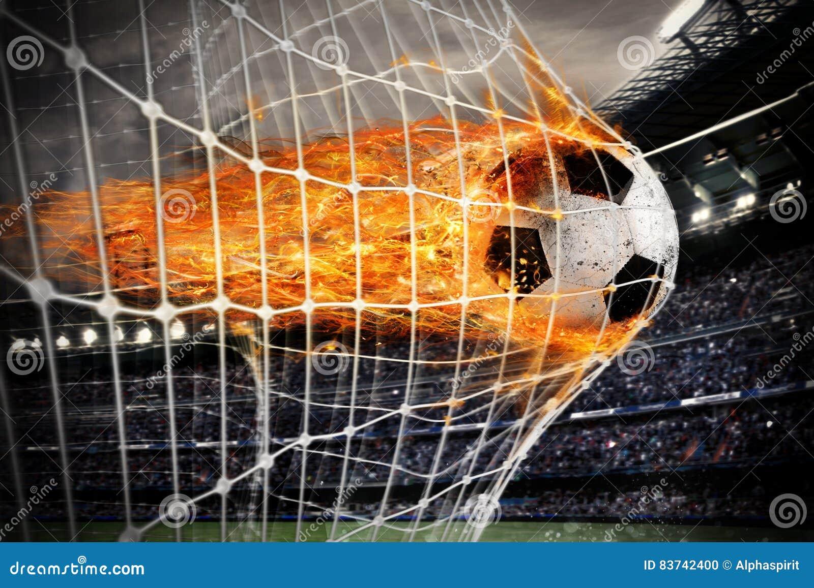 L aérolithe du football marque un but sur le filet