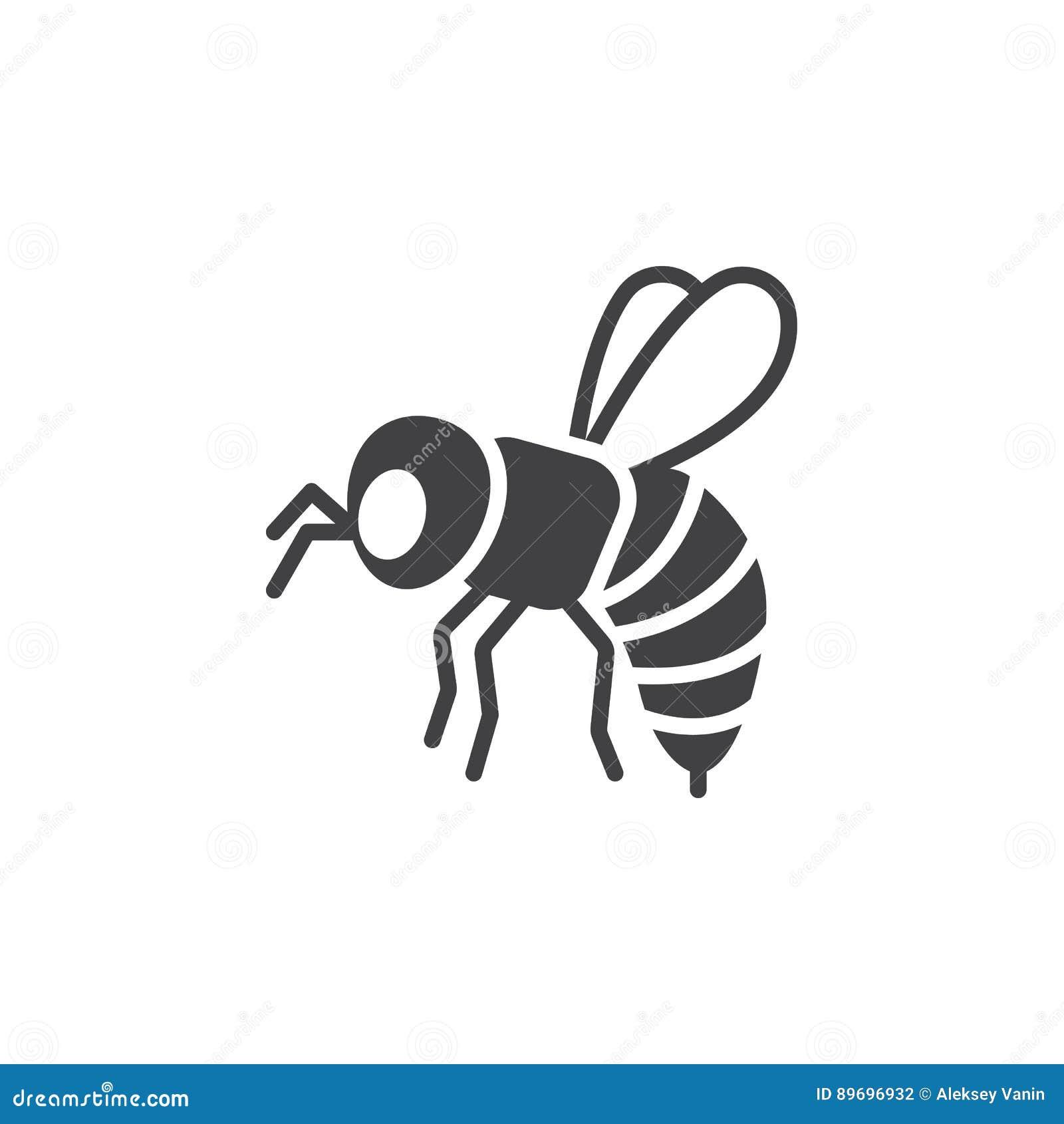 L abeille, vecteur d icône de guêpe, a rempli signe plat