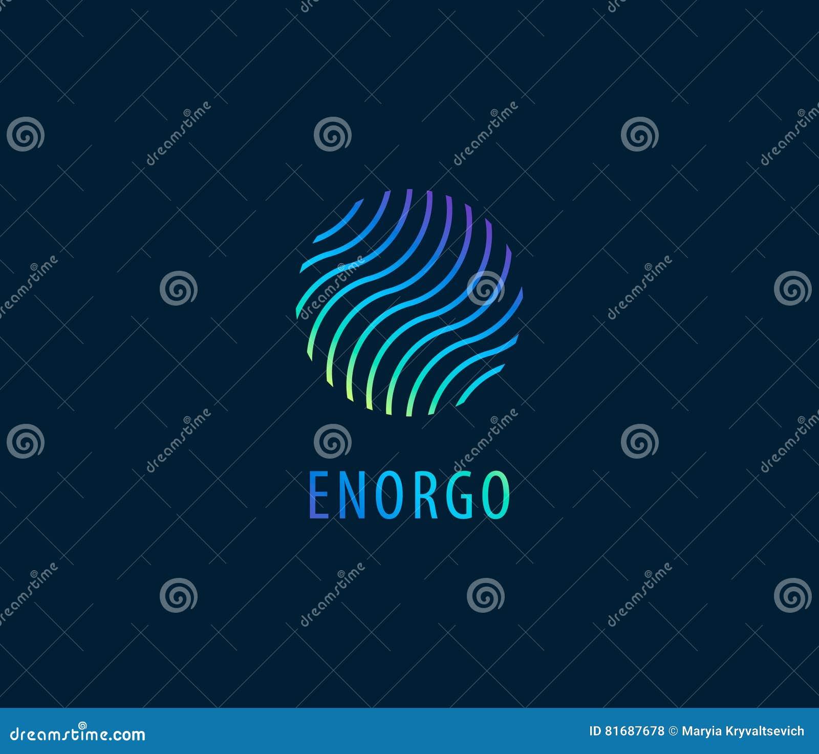 L abrégé sur vecteur ondule dans le logo coloré de cercle Énergie, l eau