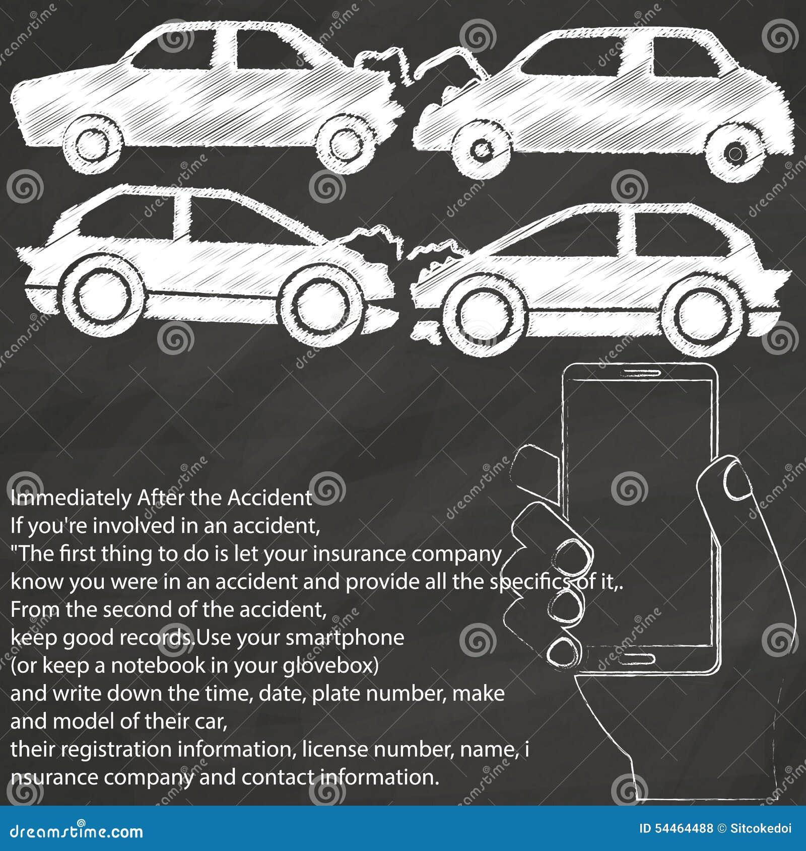 L 39 accident de voiture prennent le dessin de main de photo d 39 a par la craie illustration de - Accident de voiture dessin ...
