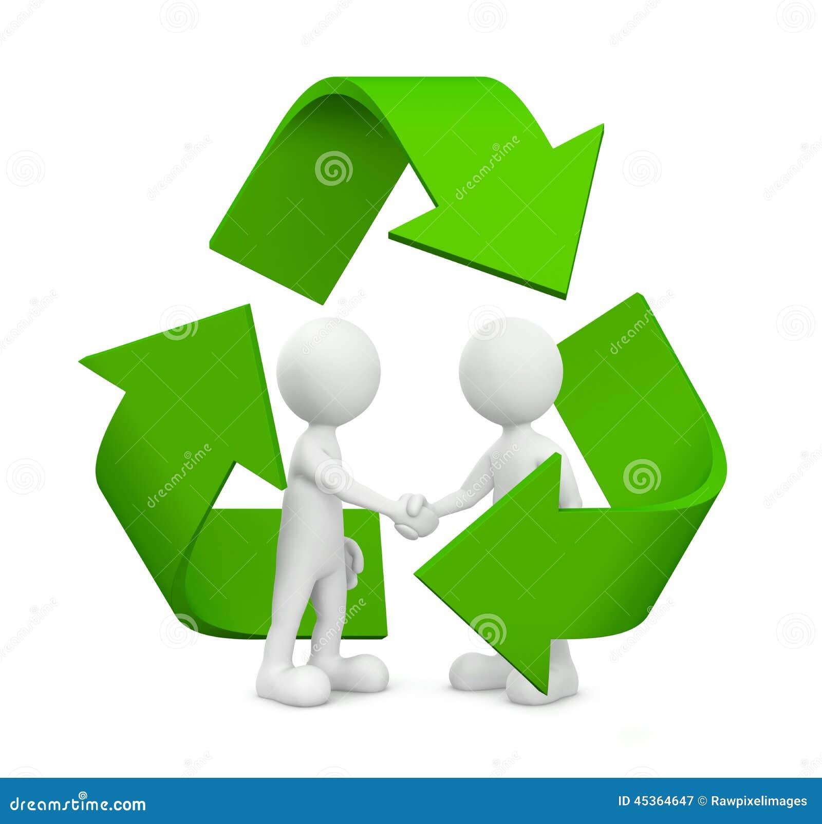 L accord d affaires du vert 3D avec réutilisent le symbole