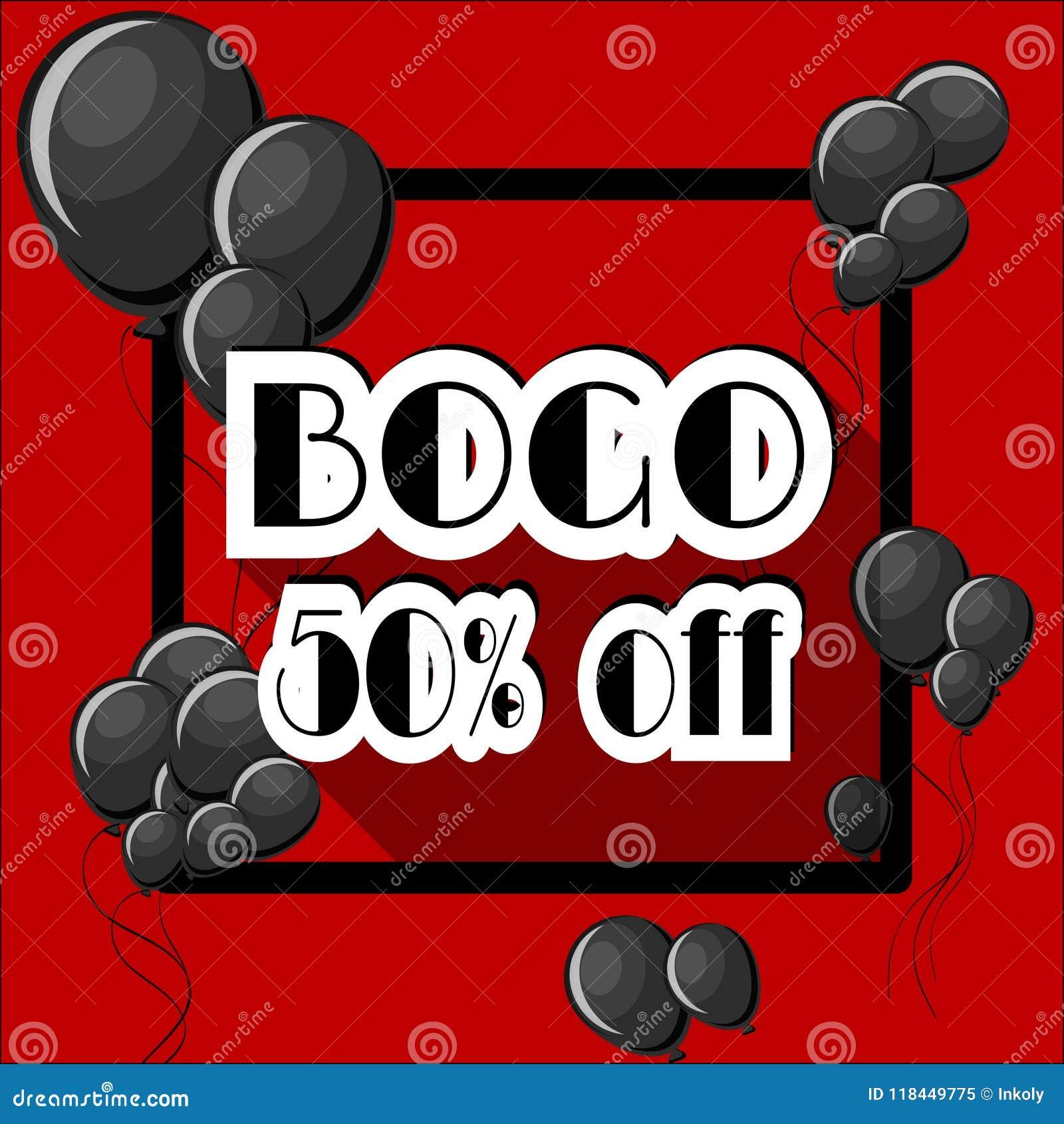 L achat un obtiennent à un BOGO 50 pour cent outre du calibre d affiche avec les ballons noirs et cadre carré sur le fond rouge