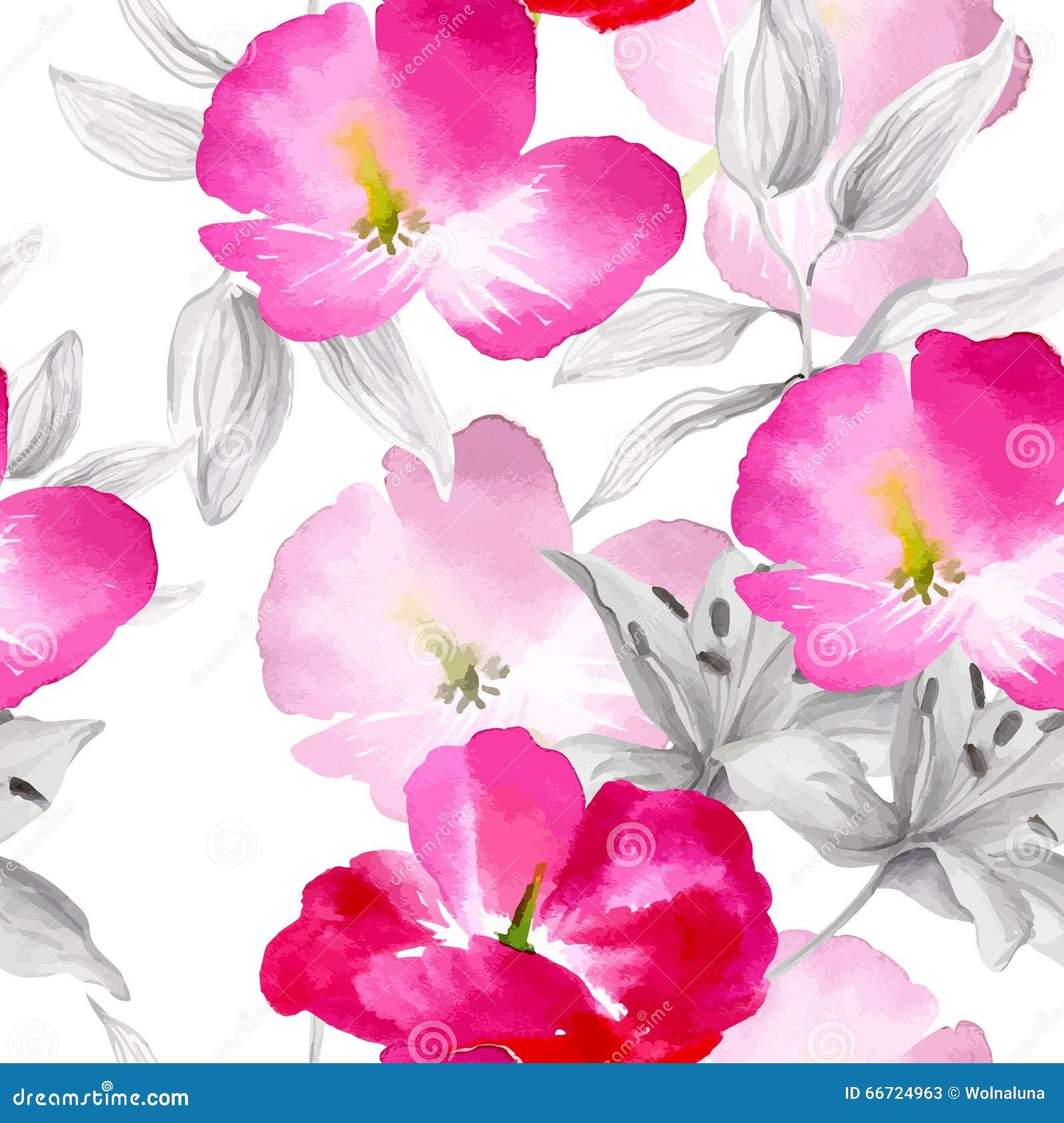 L acquerello fiorisce il modello senza cuciture