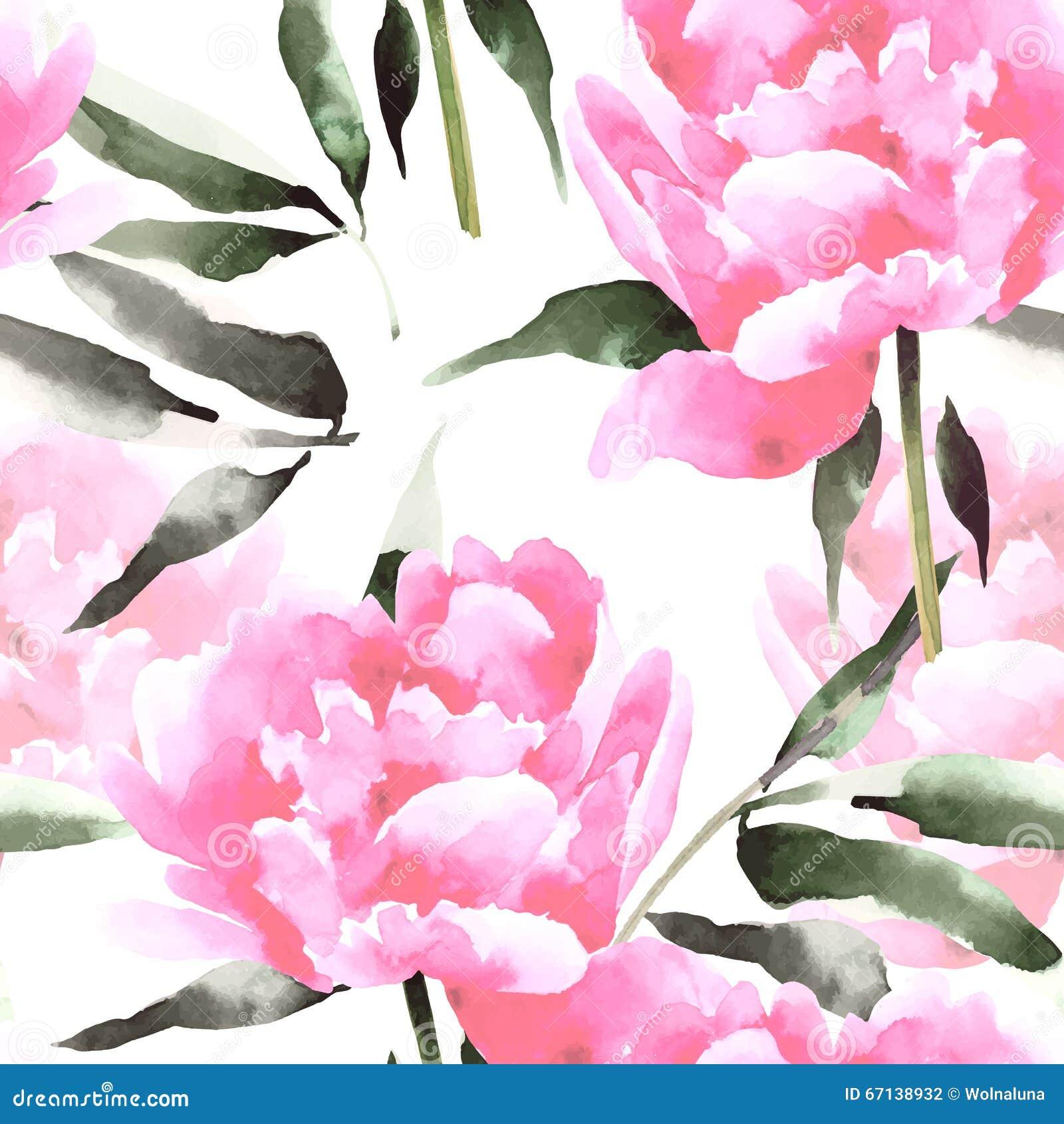 L acquerello fiorisce il modello senza cuciture con i peonis