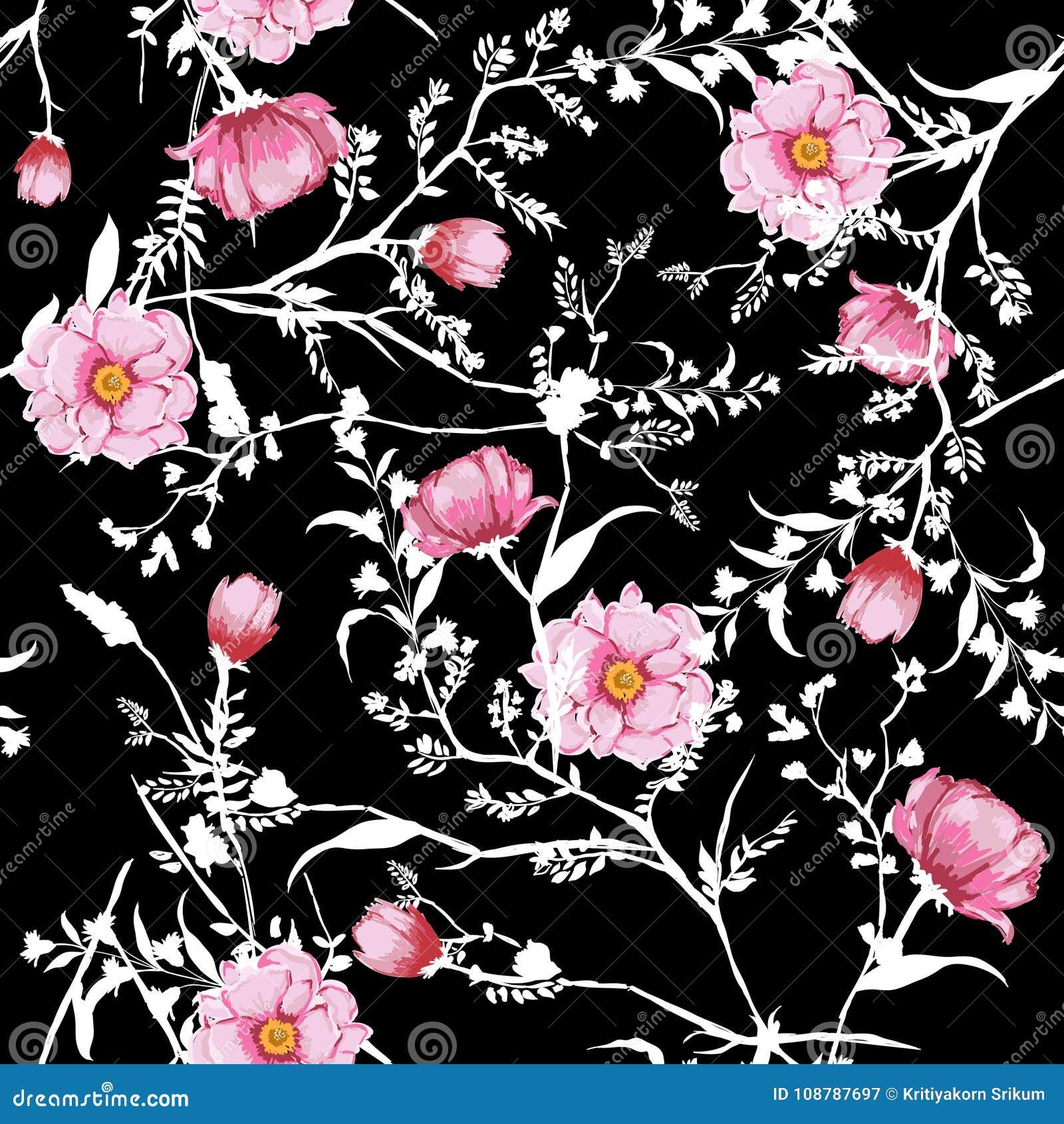 L acquerello rosa di fioritura del modello senza cuciture floreale fiorisce botanico