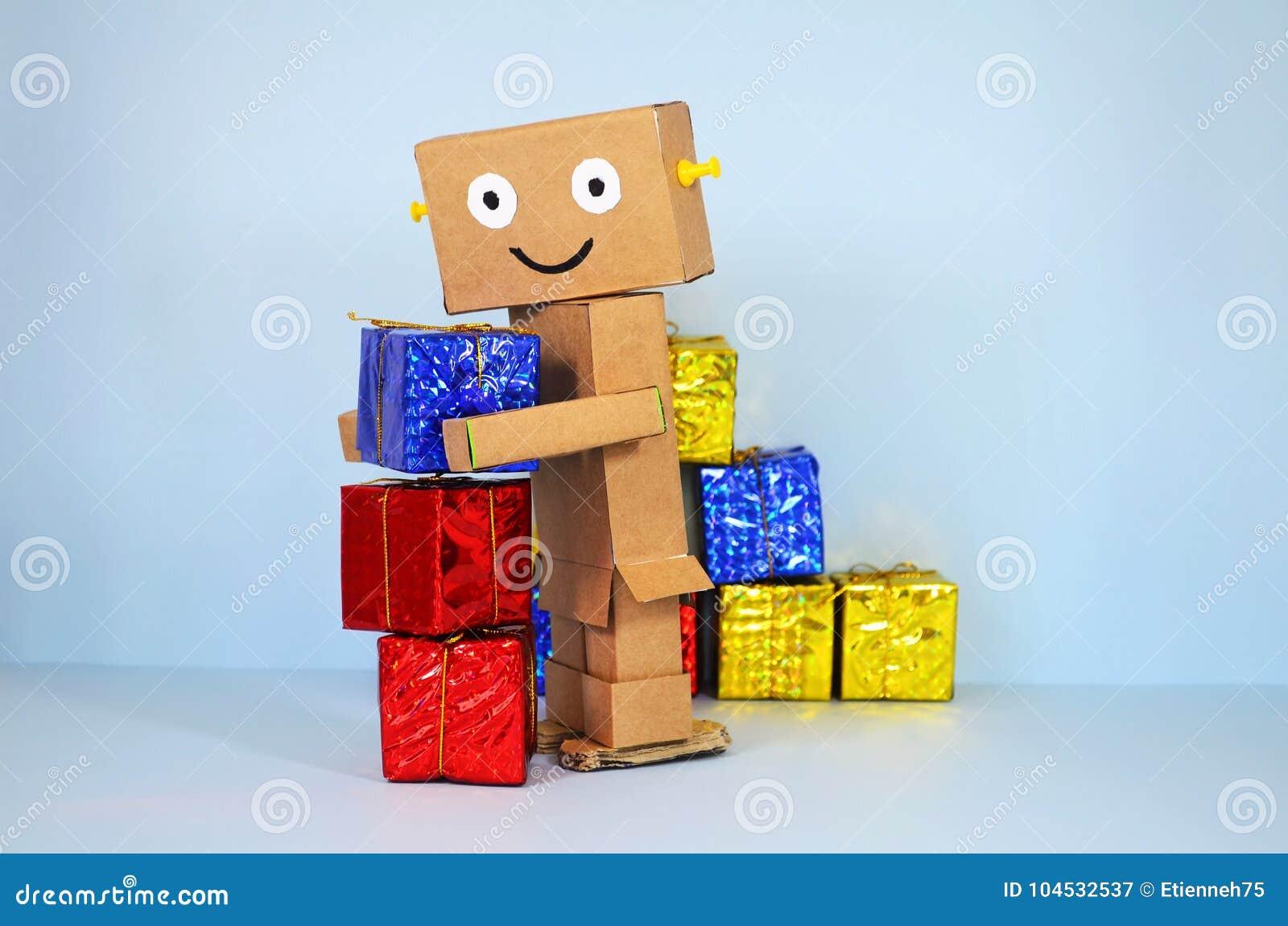 Regali Di Natale Acquisti On Line.L Acquisto Online Robot Porta I Regali Di Natale Immagine Stock