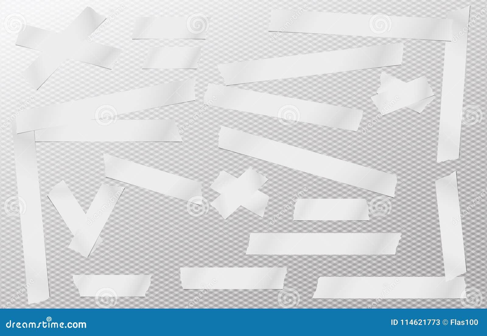 L adesivo bianco, appiccicoso, mascherante, nastro di condotta, strisce di carta collega per testo su fondo quadrato grigio