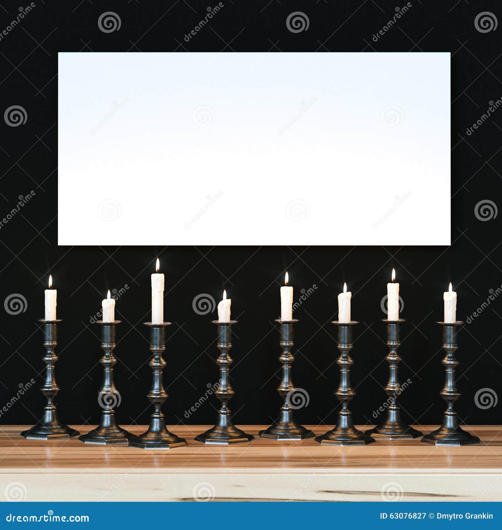 Download L'affiche Blanche Sur Le Mur Noir A Illuminé Un Grand Choix De Bougies Moc Illustration Stock - Illustration du foncé, blanc: 63076827