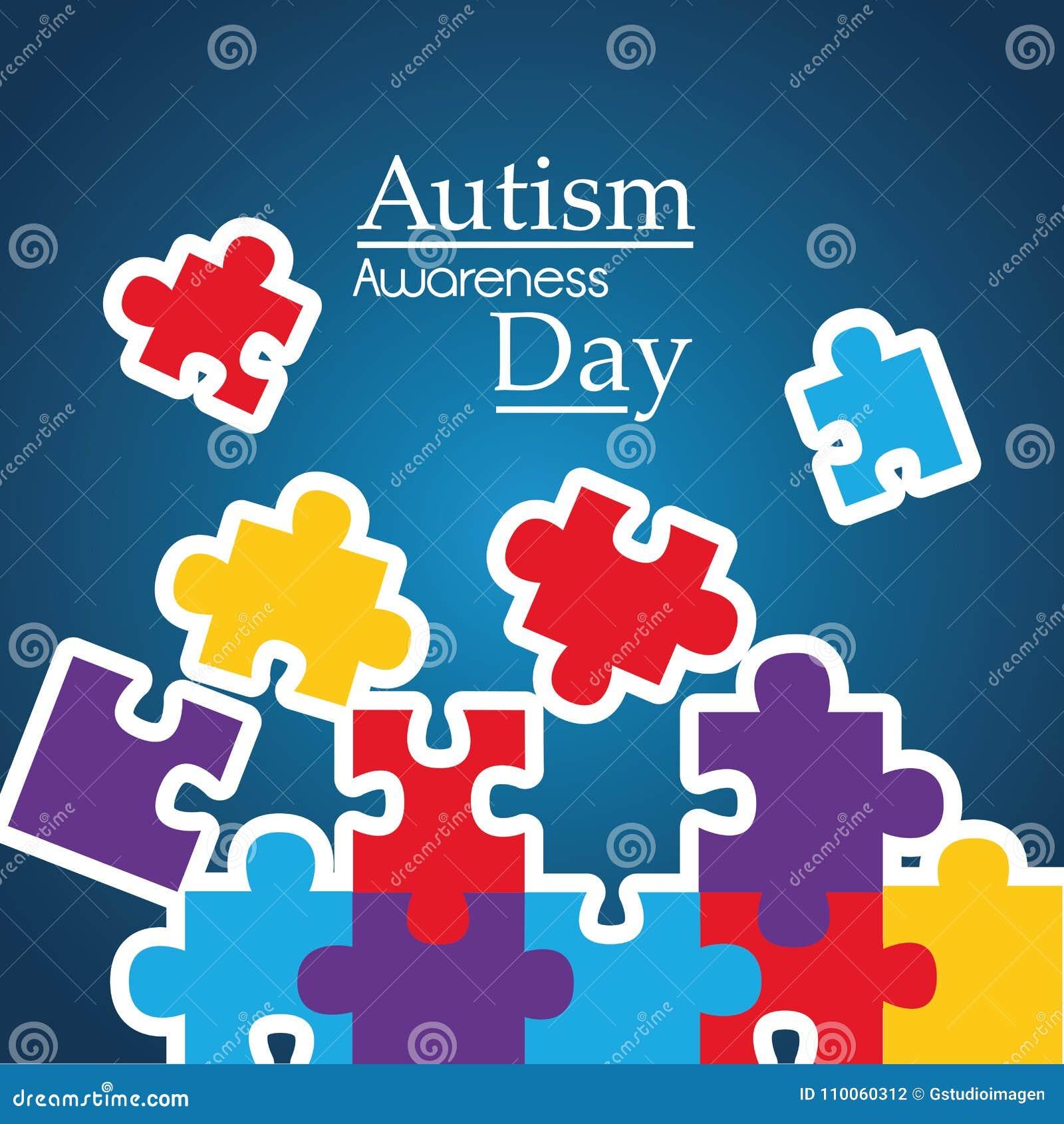 L affiche de conscience d autisme avec le puzzle rapièce le symbole de solidarité et de soutien