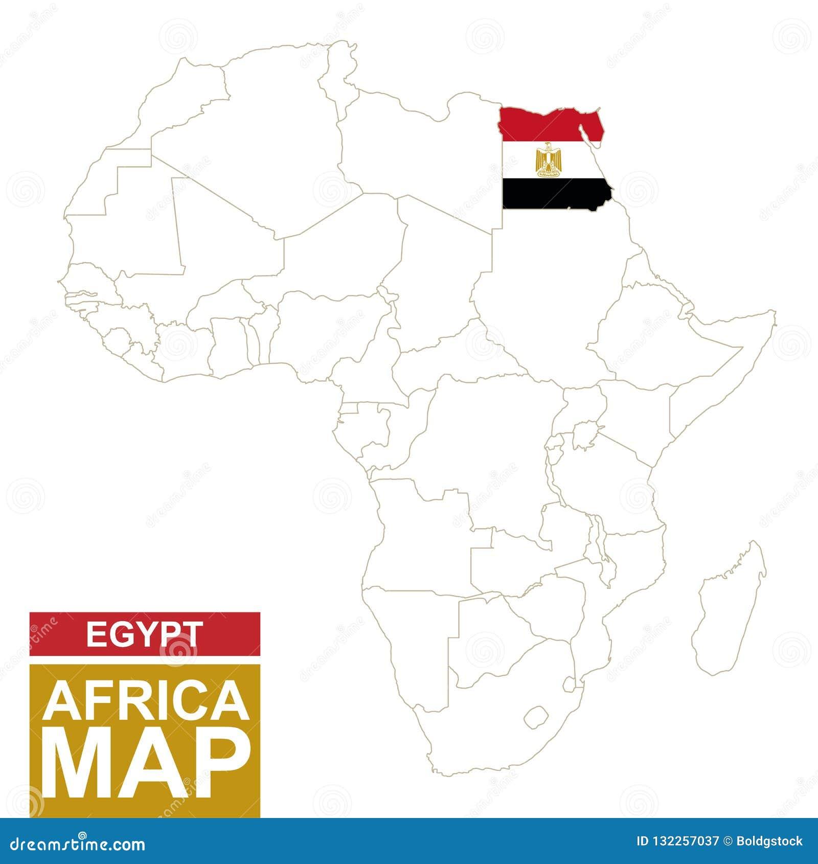 Cartina Africa Egitto.L Africa Ha Contornato La Mappa Con L Egitto Evidenziato Illustrazione Vettoriale Illustrazione Di Bandierina Algeria 132257037
