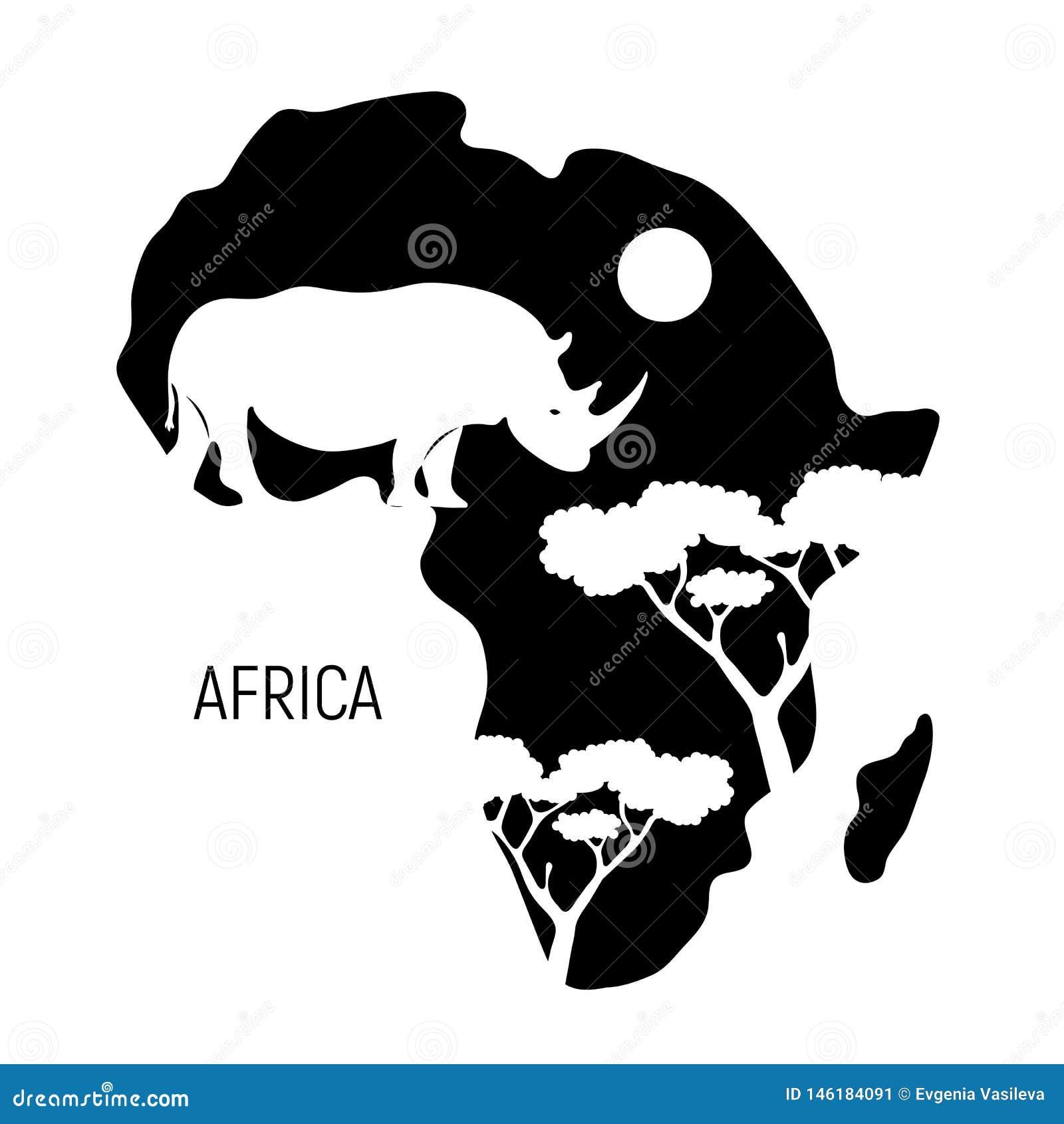 Cartina Dell Africa In Bianco E Nero.L Africa Mappa In Bianco E Nero Del Continente Dell Africa Con Il Rinoceronte Della Siluetta Illustrazione Di Vettore Illustrazione Vettoriale Illustrazione Di Emblema Africa 146184091