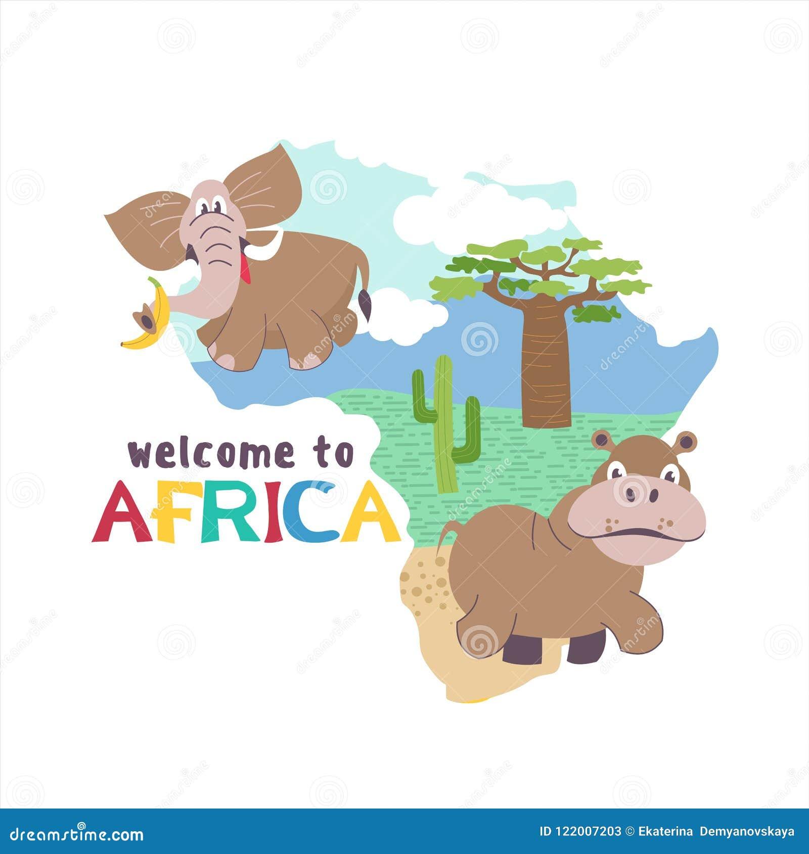 L africa Mappe della siluetta di vettore del continente africano Animali africani