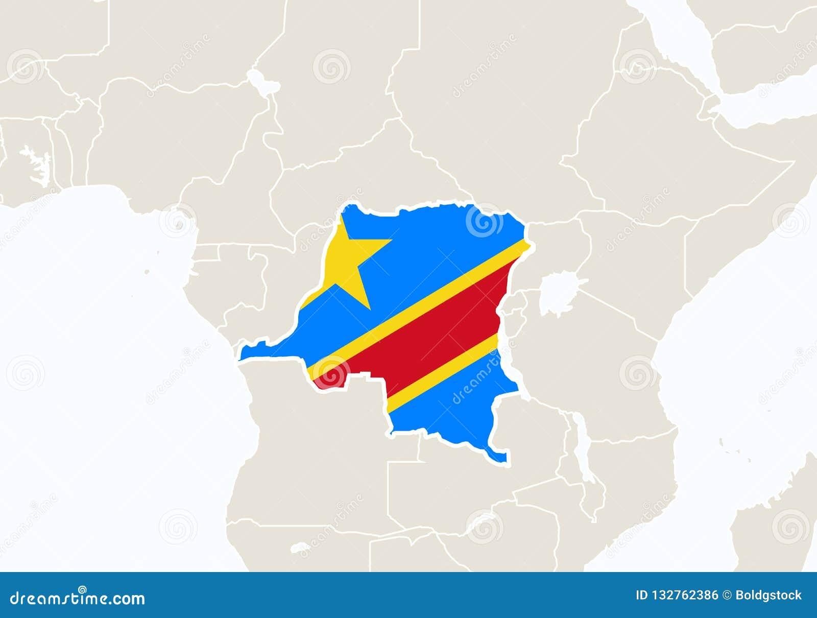 L'Afrique Avec La Carte Accentuée De La République Démocratique Du Congo  Illustration de Vecteur - Illustration du kinshasa, cadres: 132762386