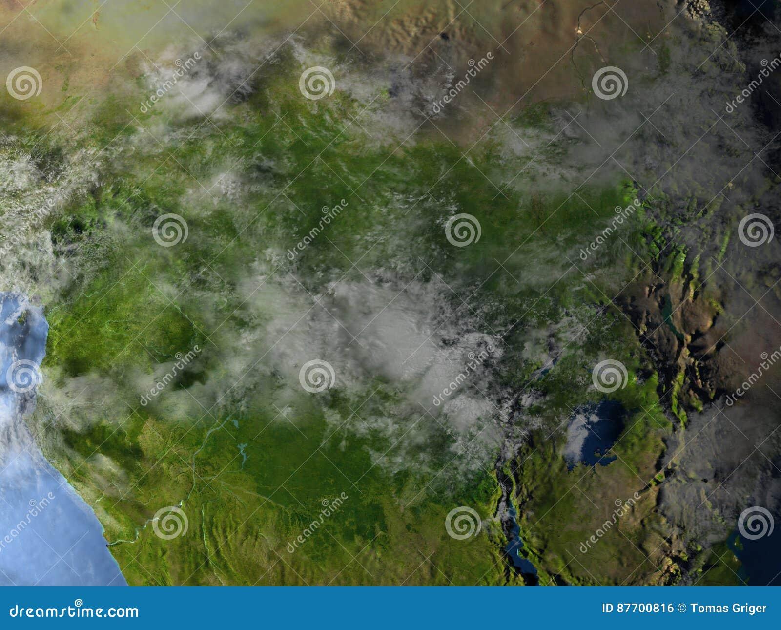 L Afrique centrale la nuit sur terre de planète