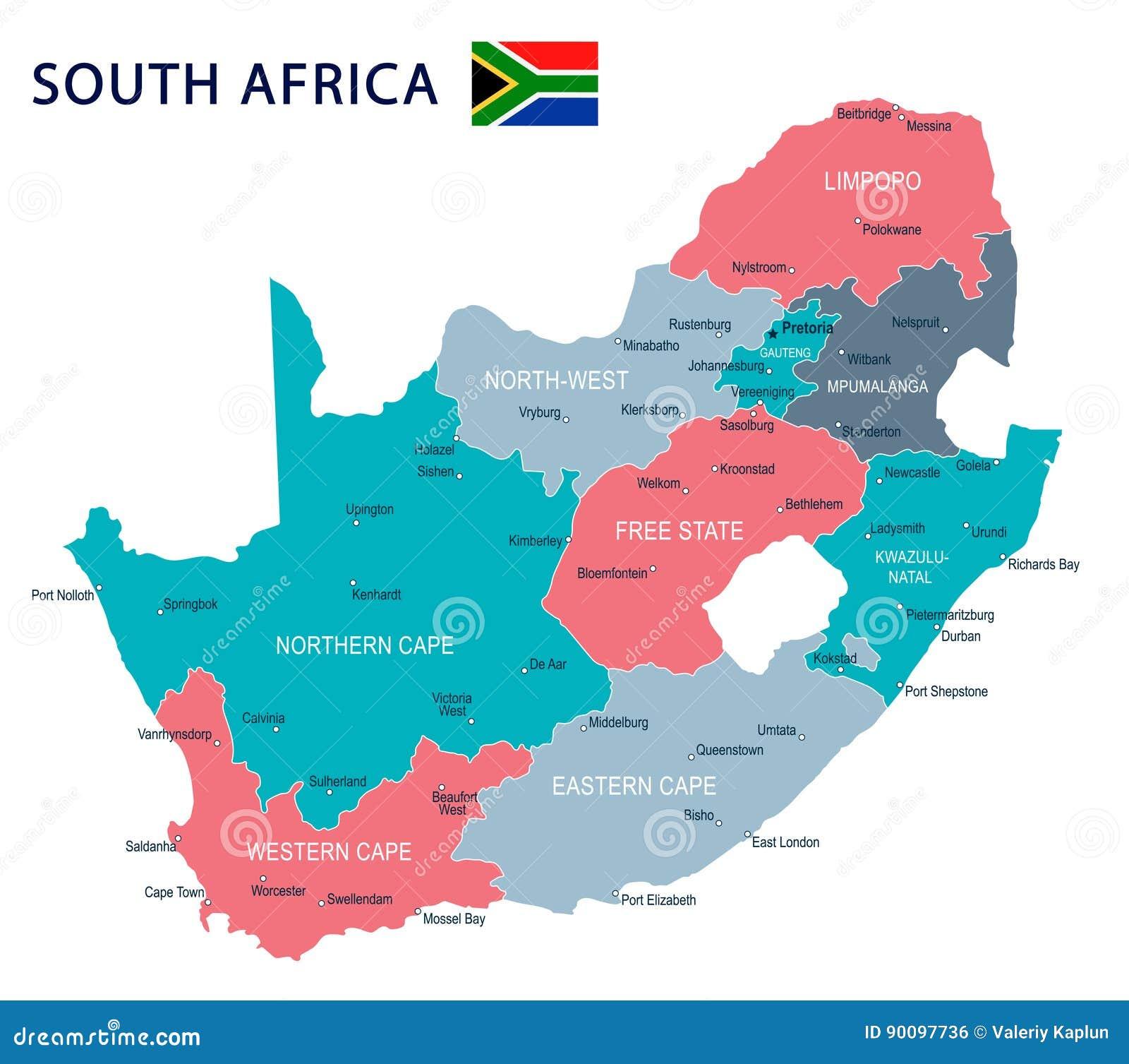 Carte Afrique Johannesburg.L Afrique Du Sud Carte Et Drapeau Illustration