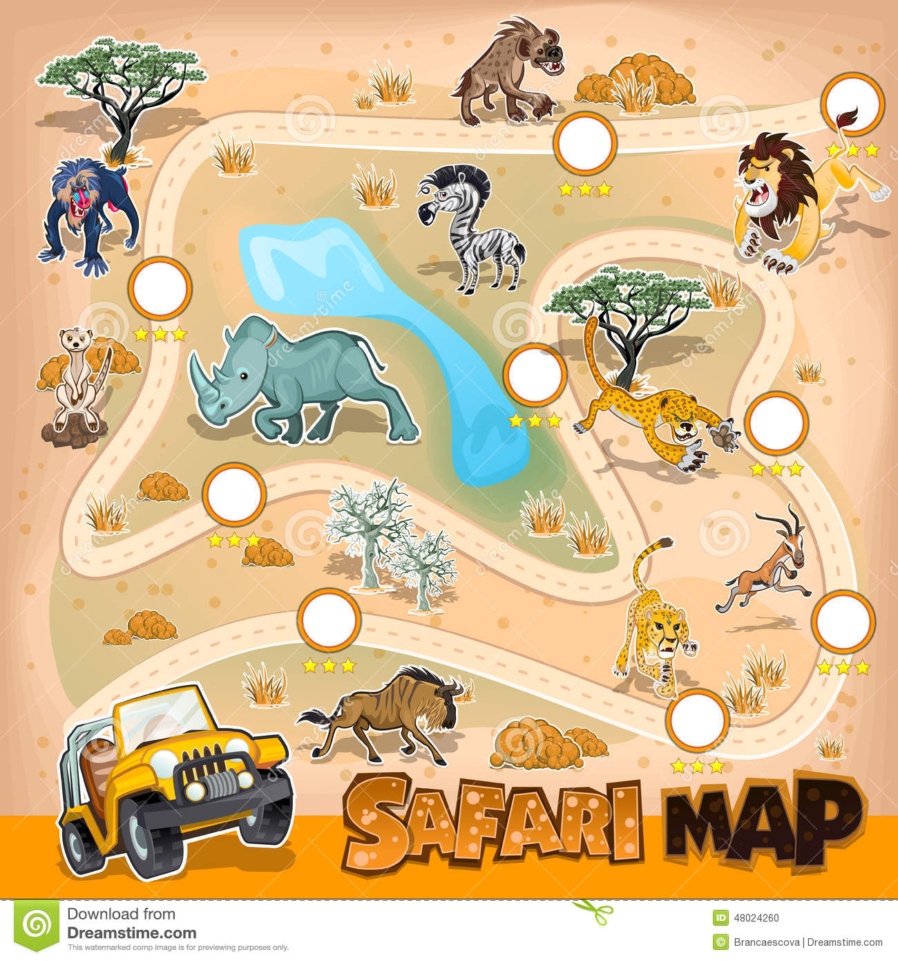 L Afrique Safari Map Wildlife