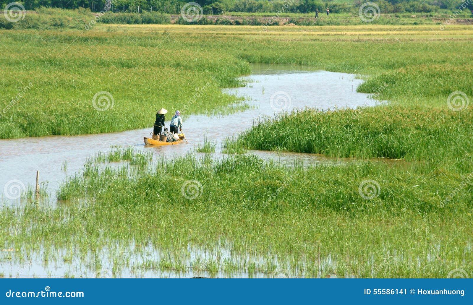 L agriculteur asiatique, bateau de rangée, famille, vont travailler