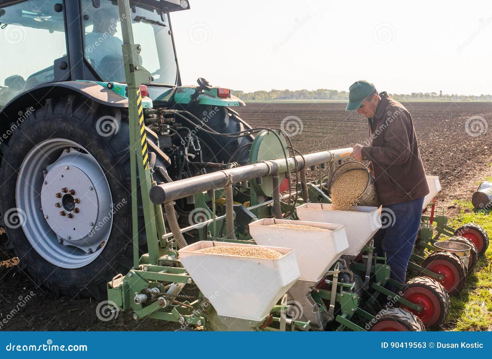L agriculteur avec la graine de versement de soja de boîte pour semer cultive à l agricultura