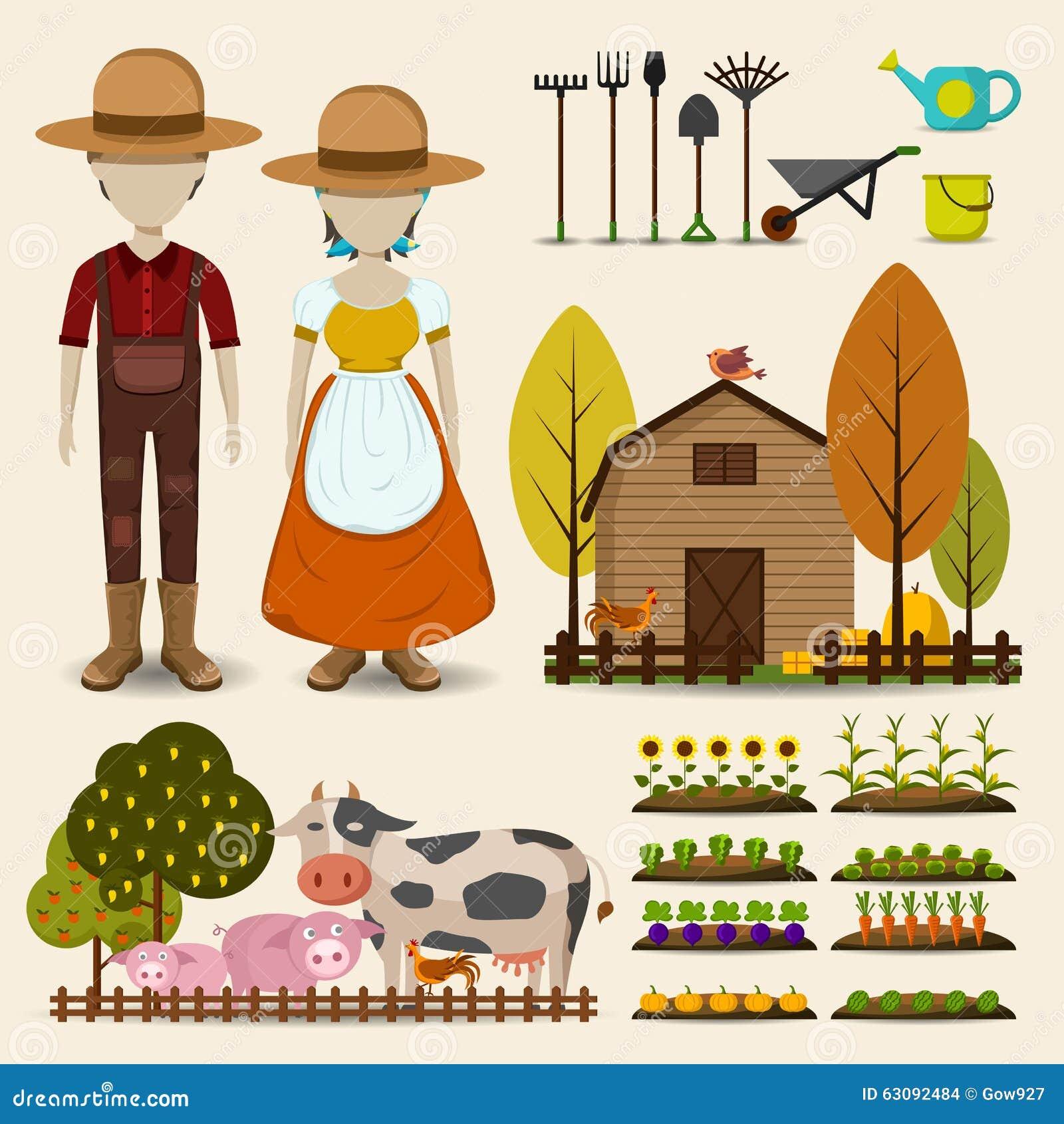 Download L'agriculture De L'agriculture Et De L'ensemble De Collectrion D'icône De Bétail Se Compose Illustration de Vecteur - Illustration du affermage, bétail: 63092484