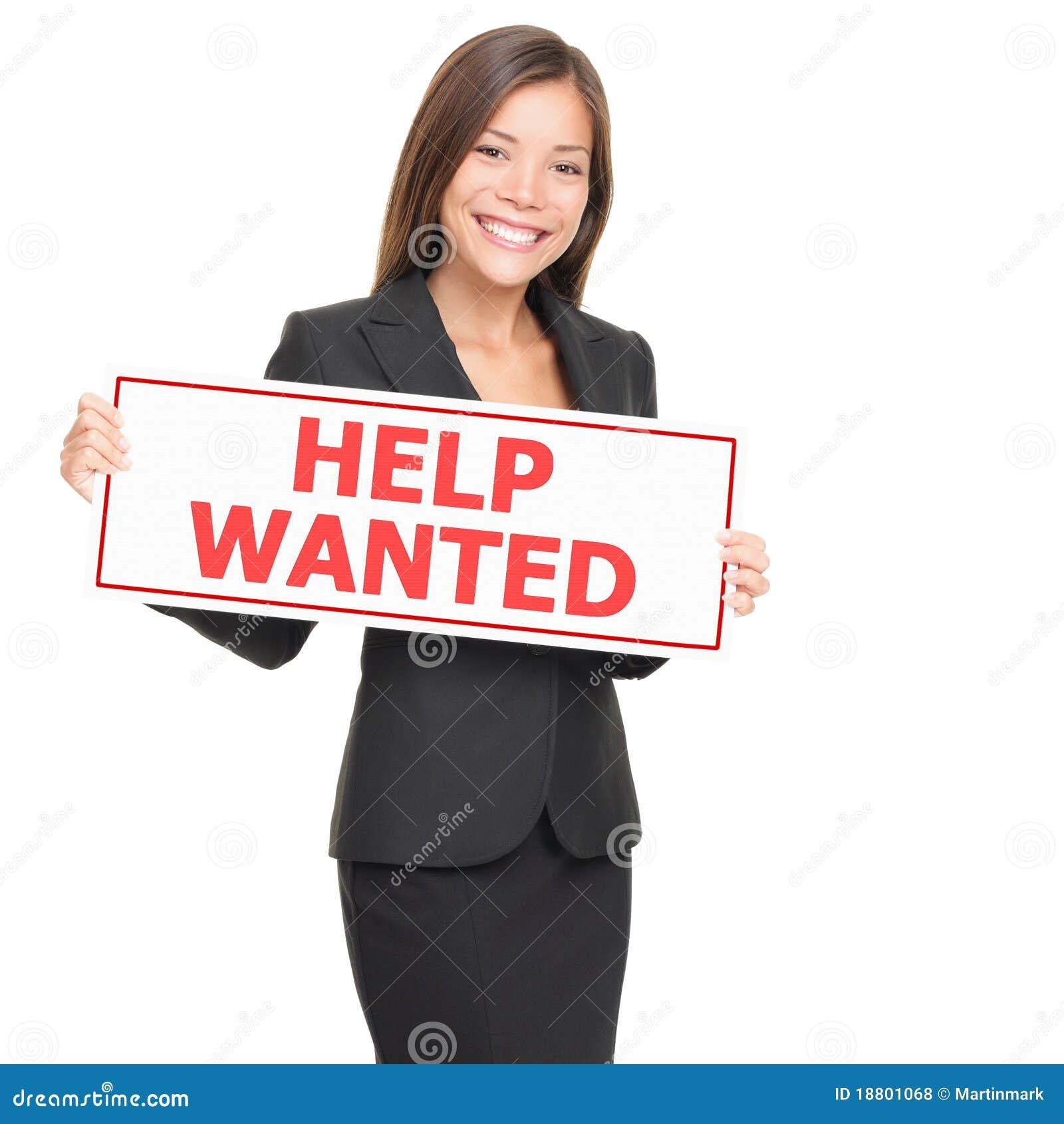 L aide de location de fixation de femme du travail a voulu le signe blanc